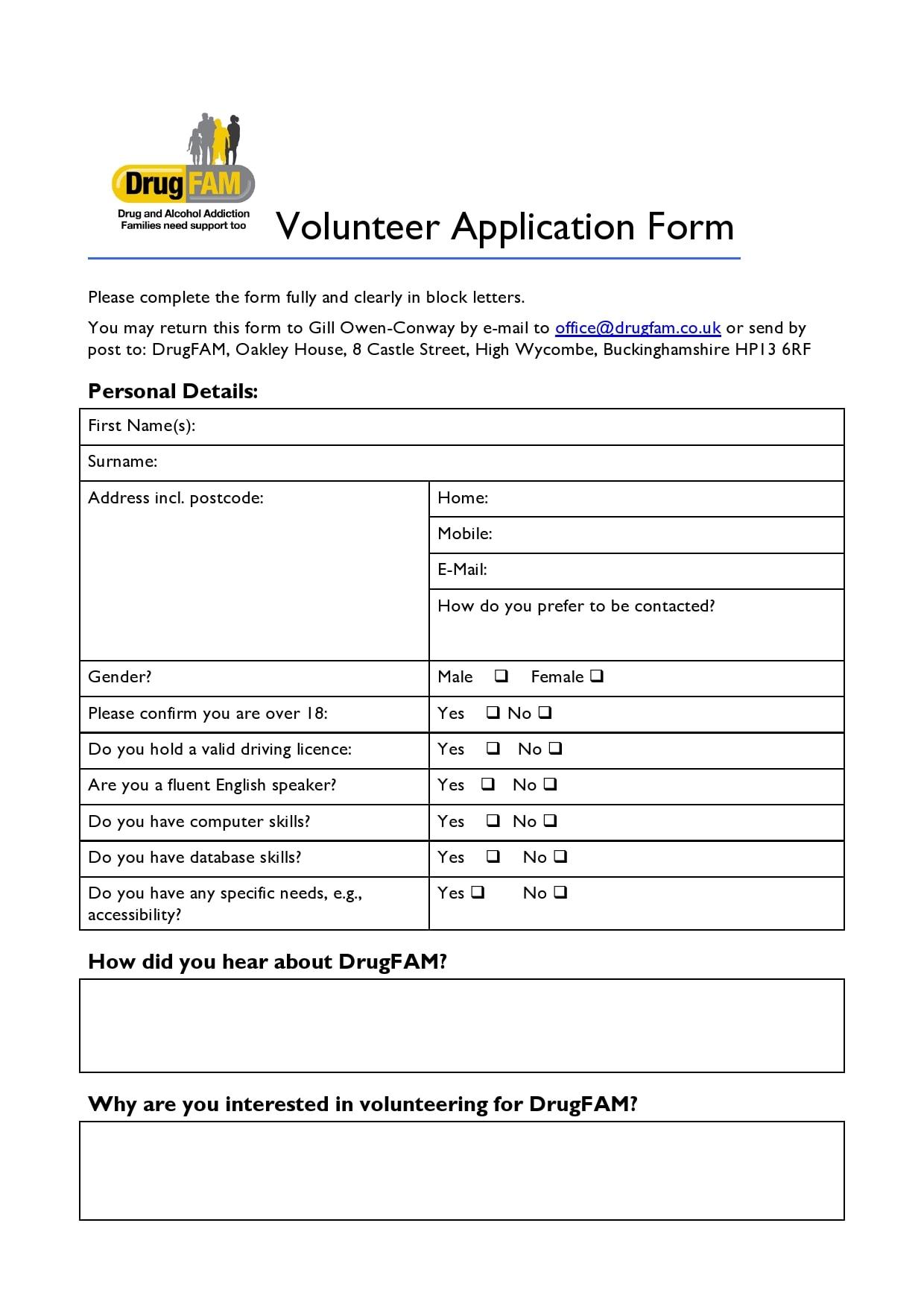volunteer application template 23