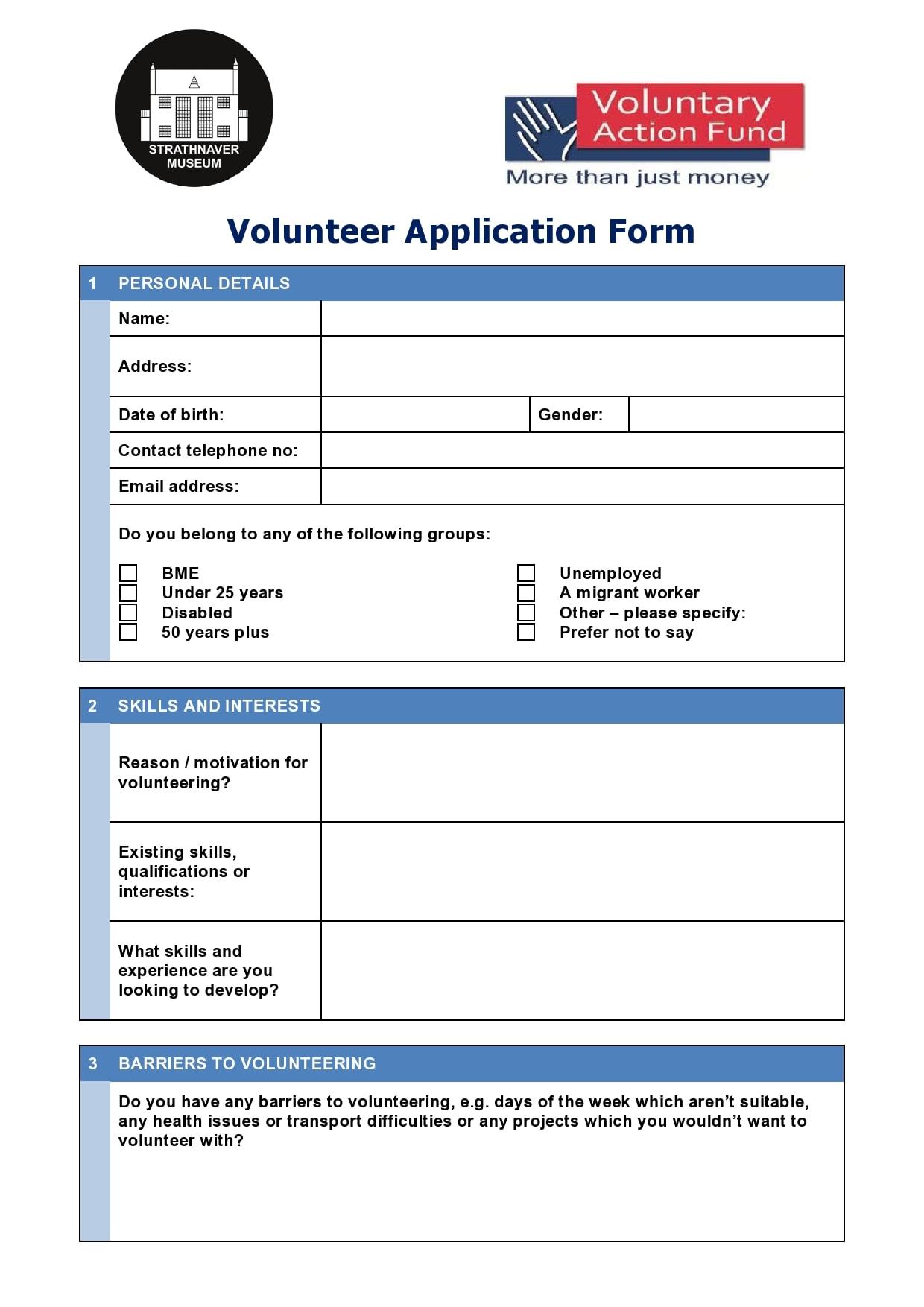 volunteer application template 27