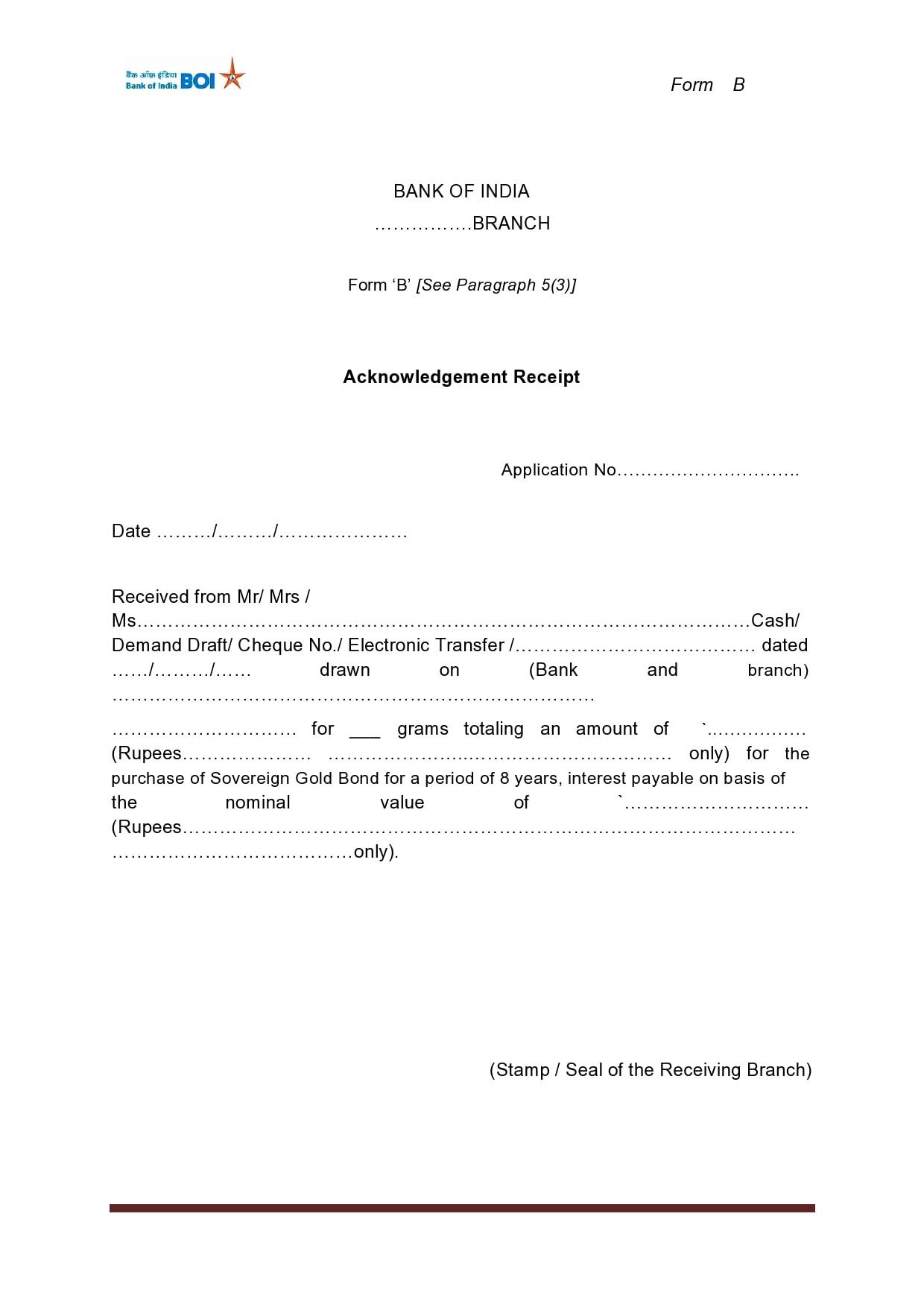 acknowledgement receipt 17