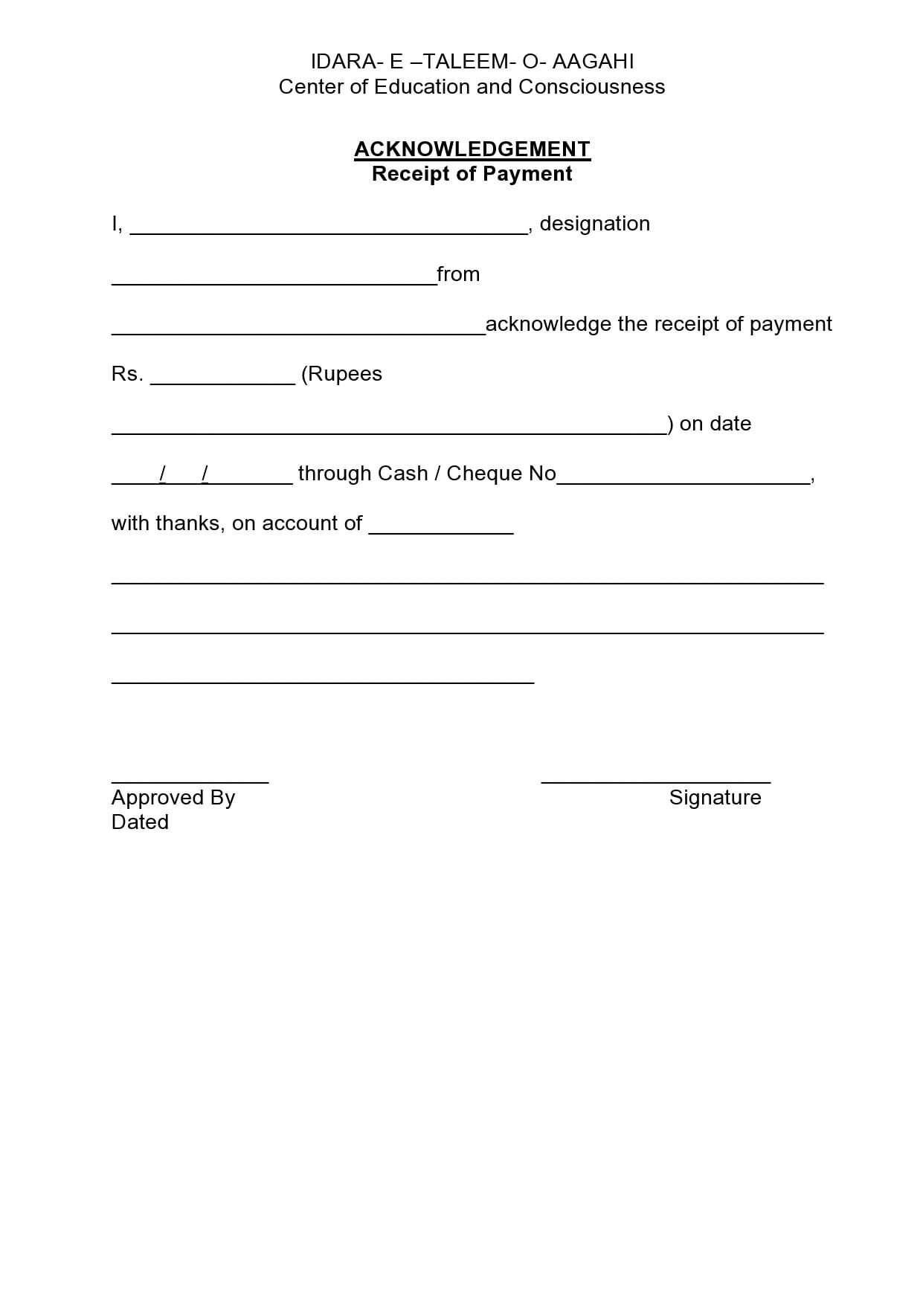 acknowledgement receipt 19
