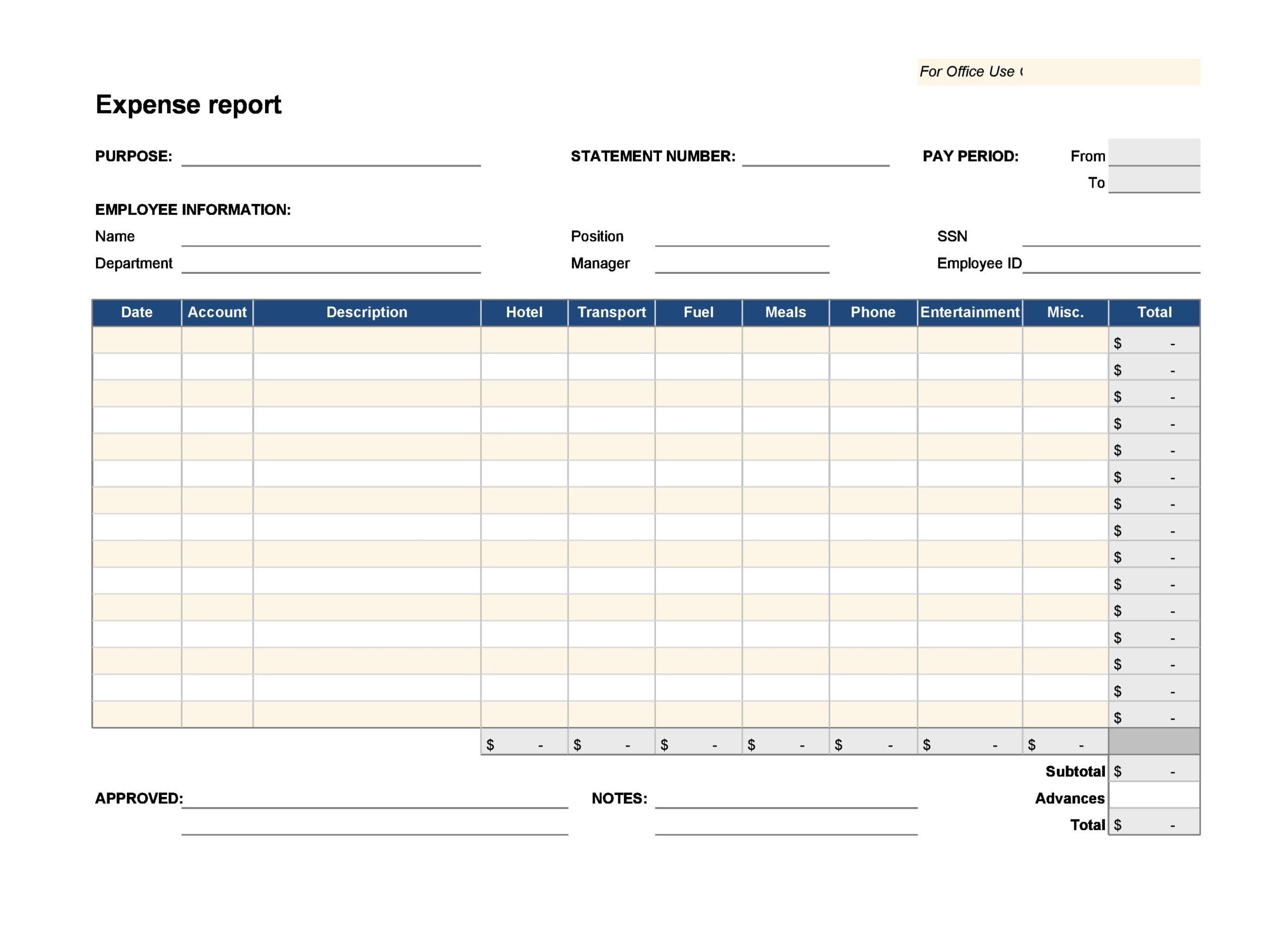 business expense spreadsheet 12