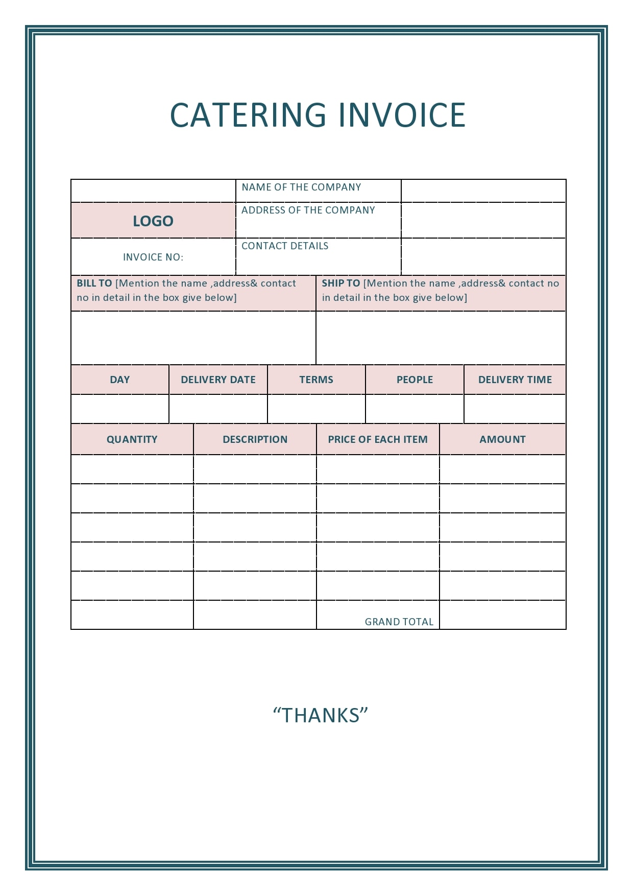 catering invoice 11