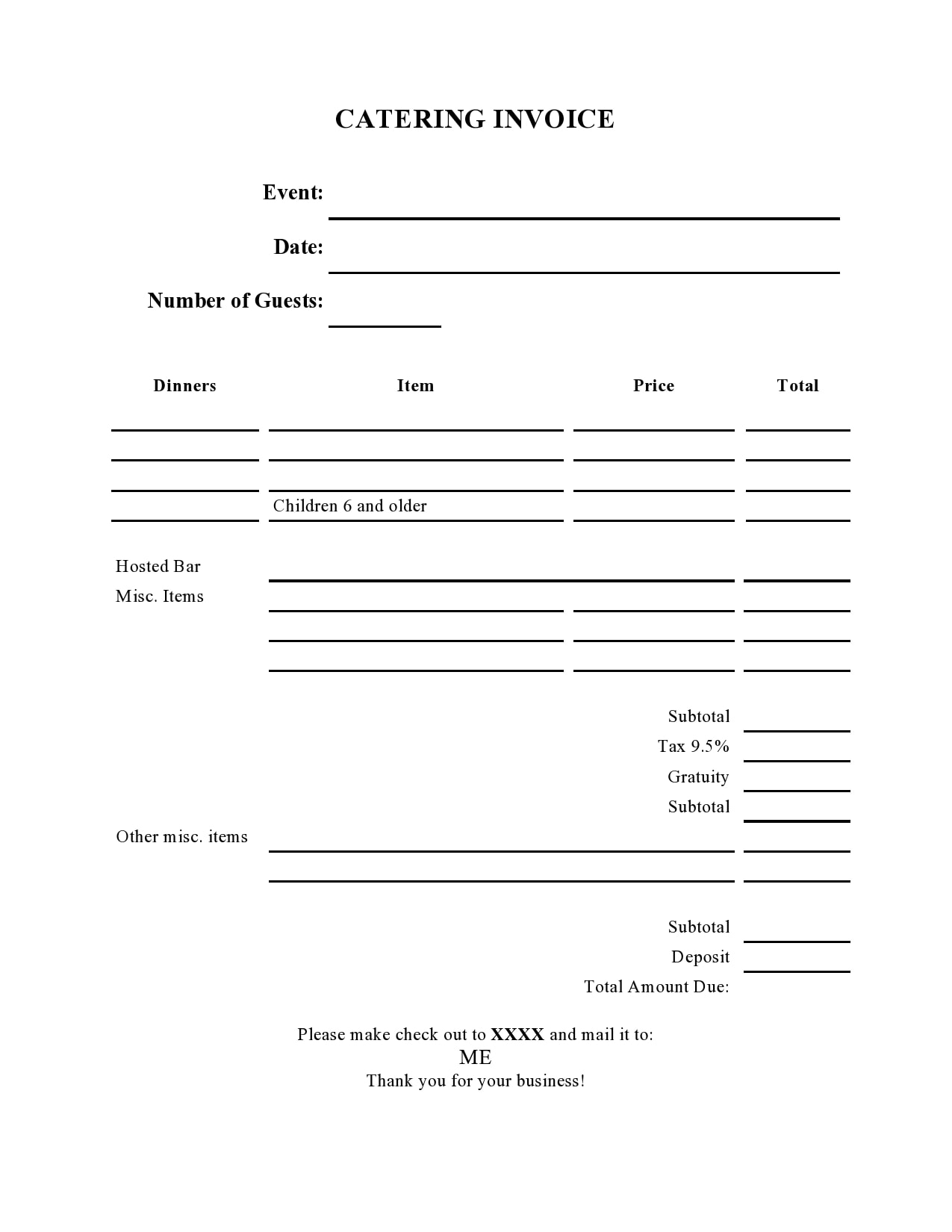 catering invoice 18