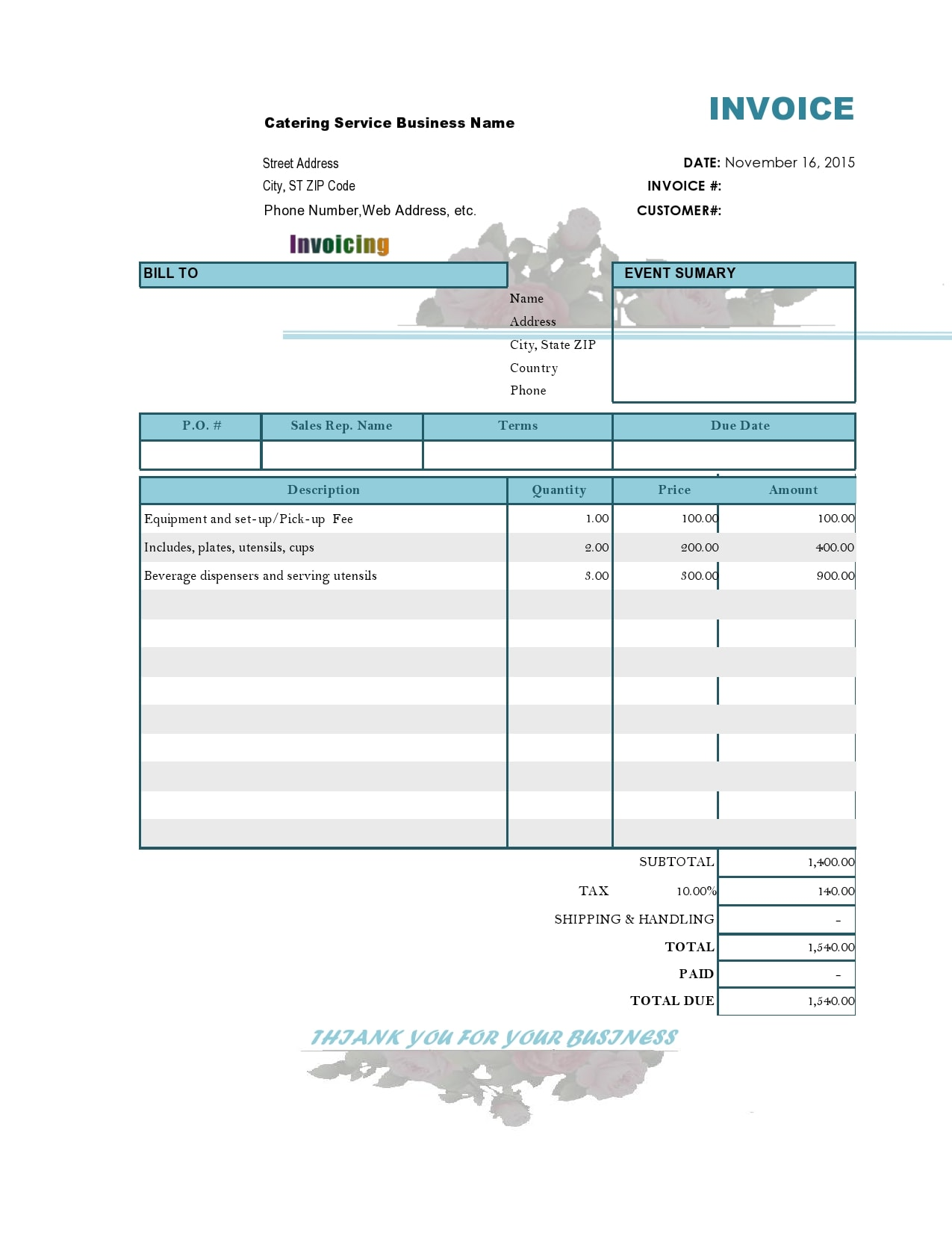 catering invoice 20