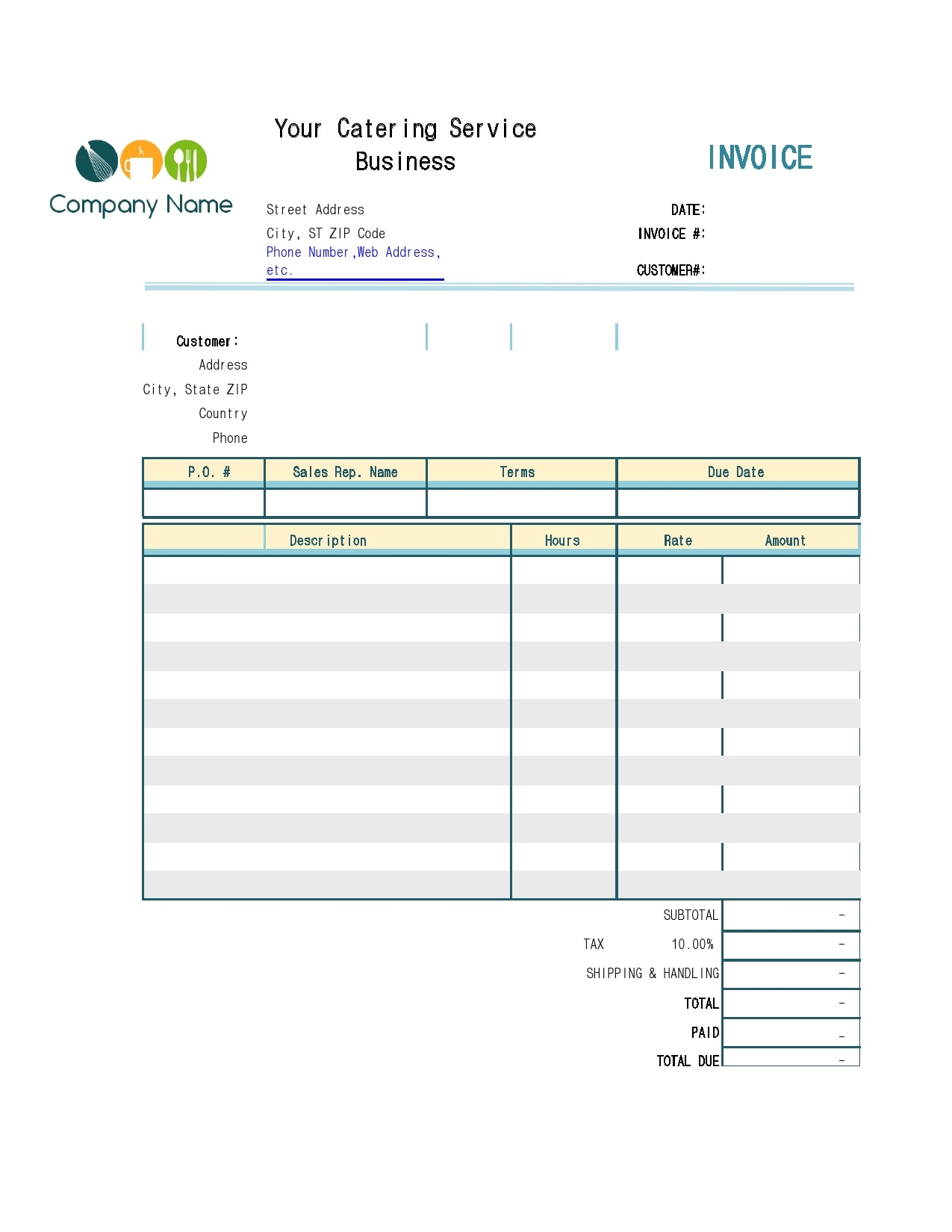 catering invoice 21
