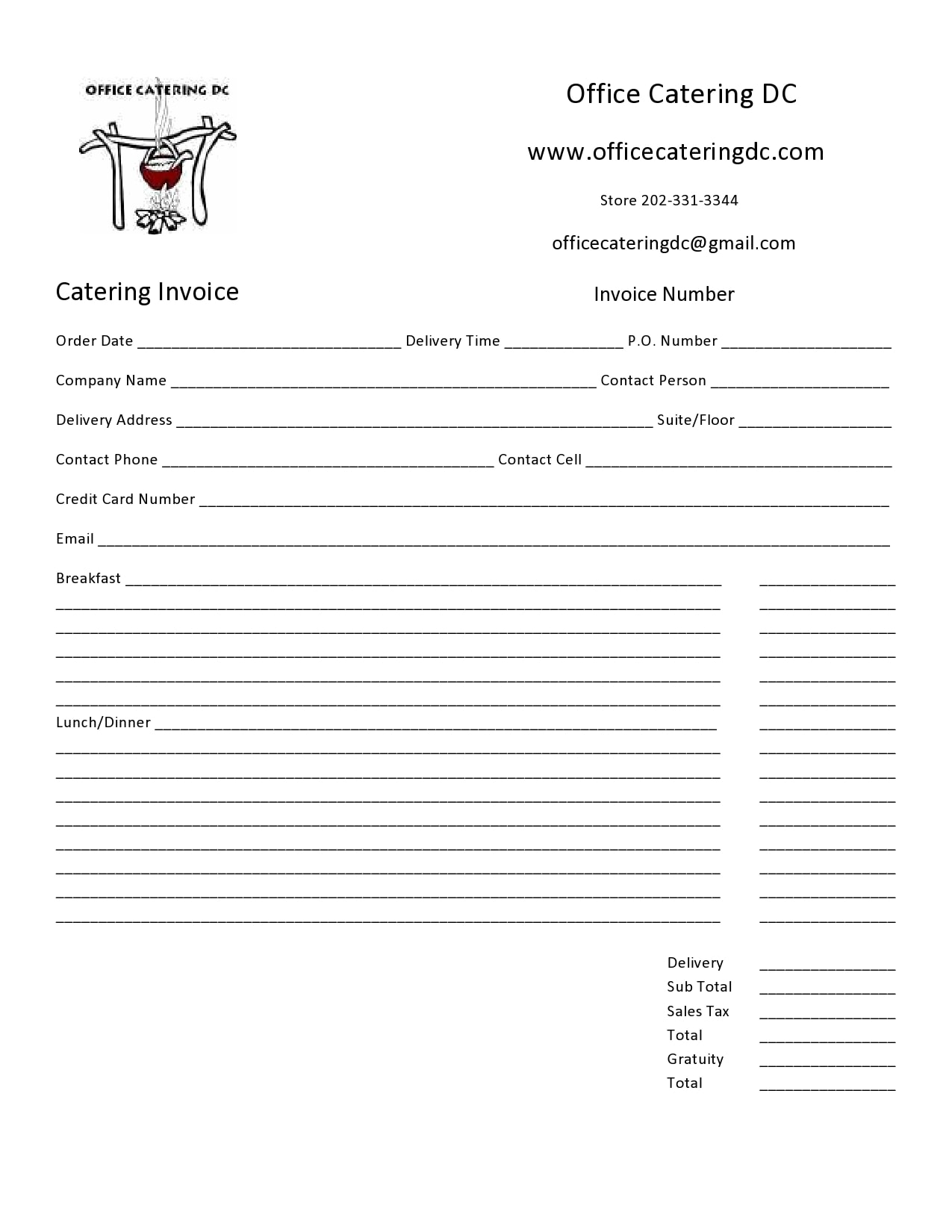 catering invoice 24