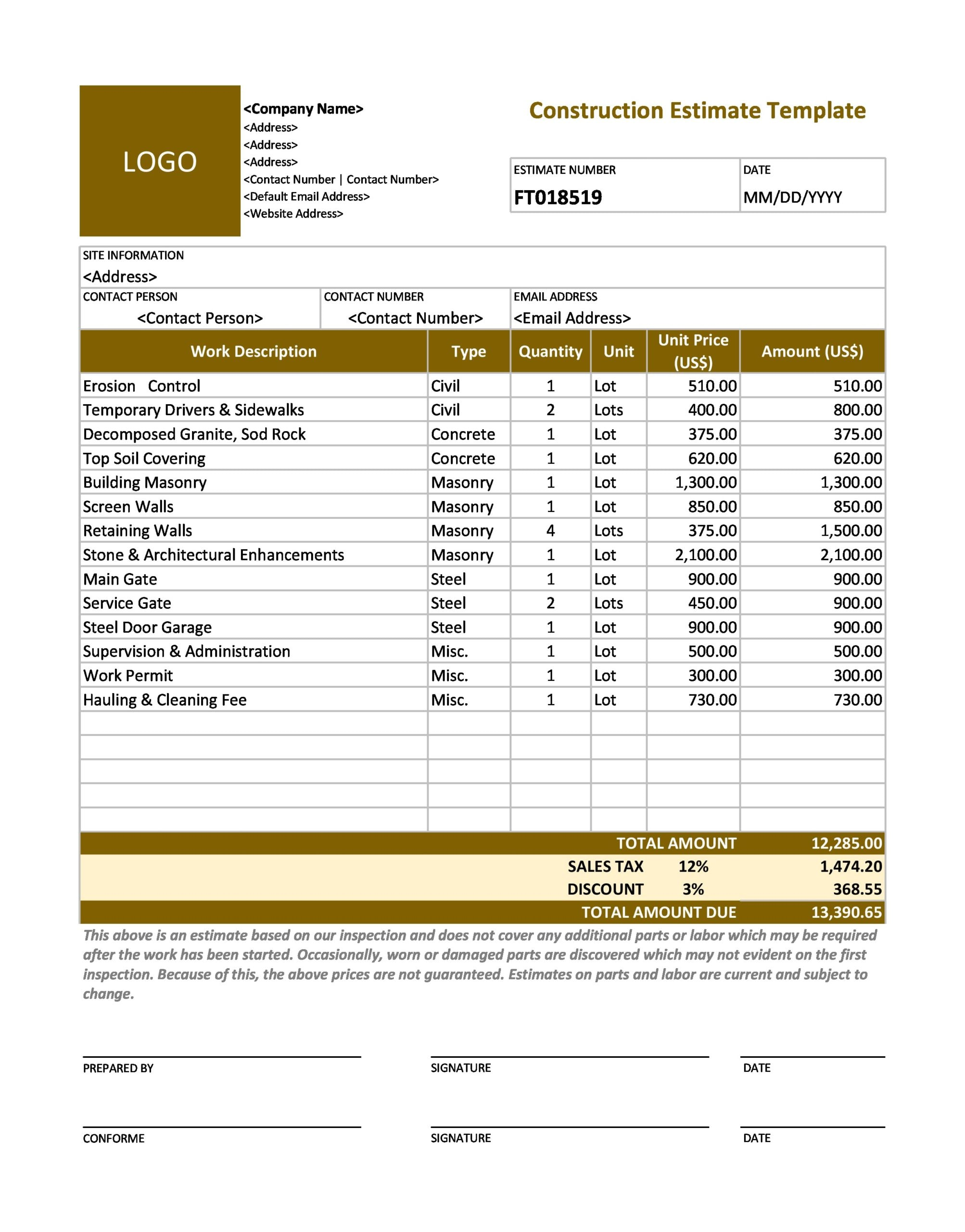 25 Perfect Construction Estimate Templates (FREE) - TemplateArchive Pertaining To Blank Estimate Form Template