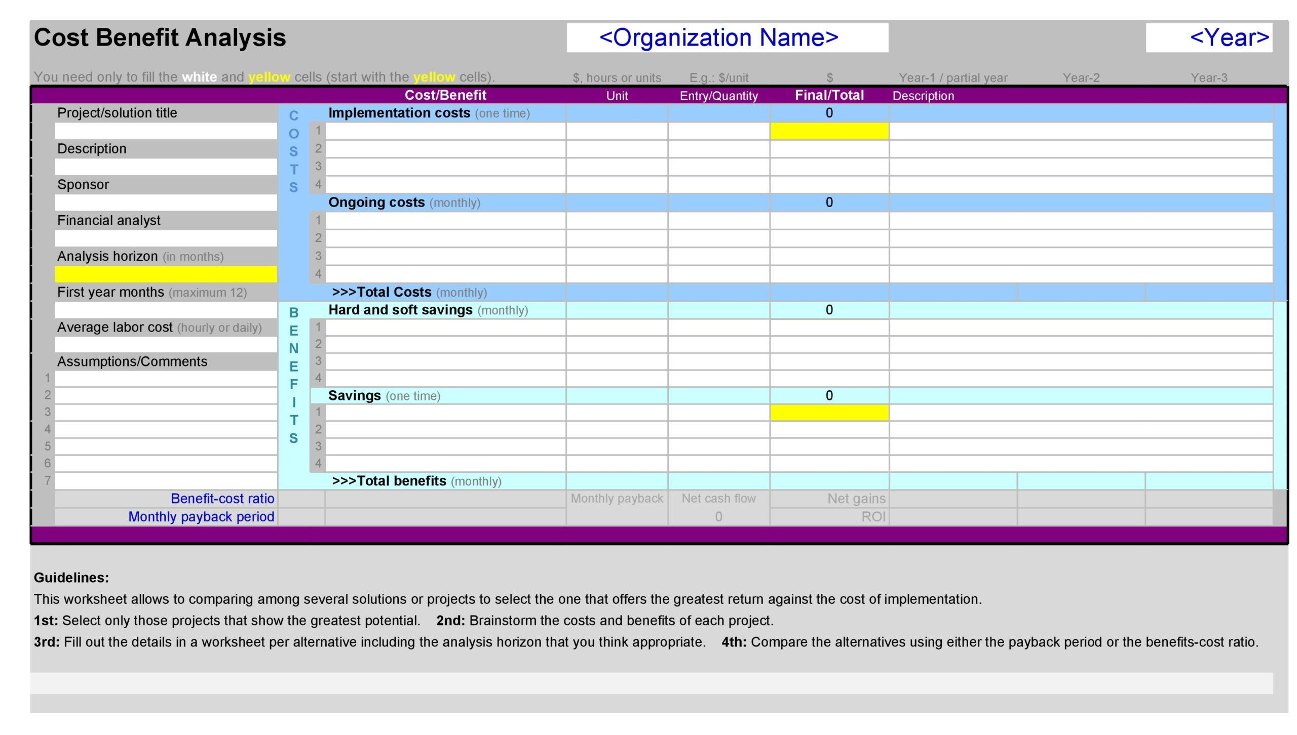 cost benefit analysis template 20