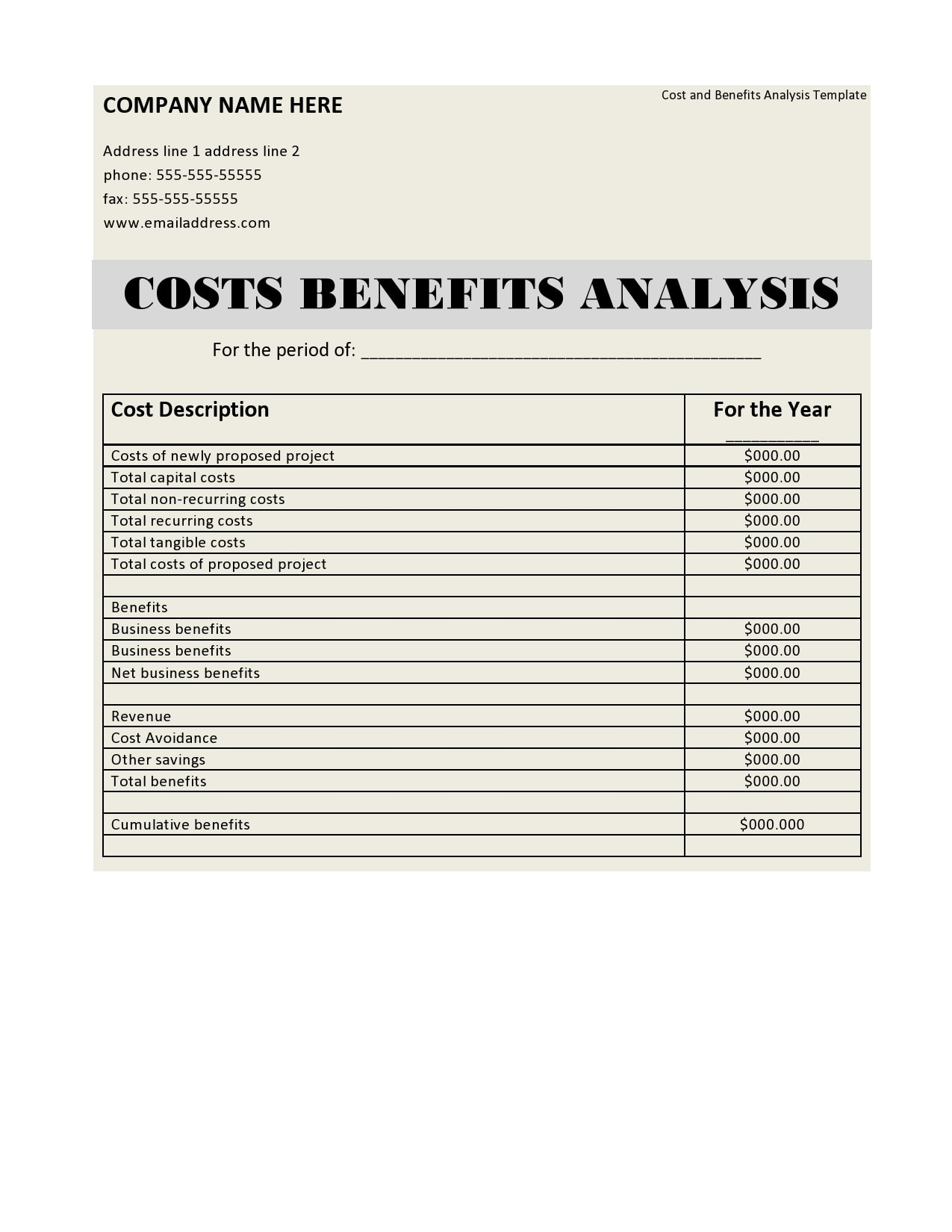 cost benefit analysis template 27
