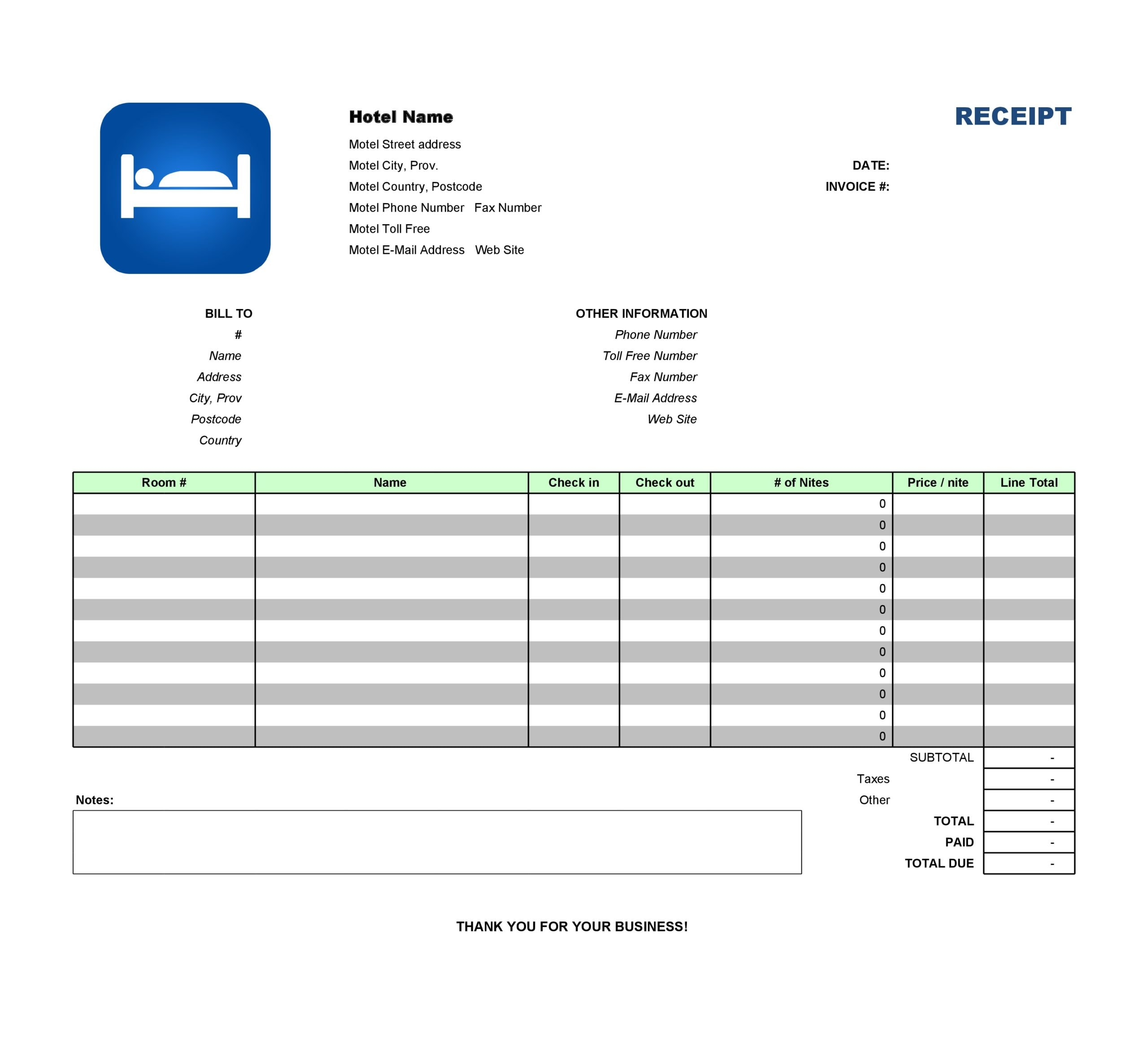 30 Real Fake Hotel Receipt Templates Templatearchive