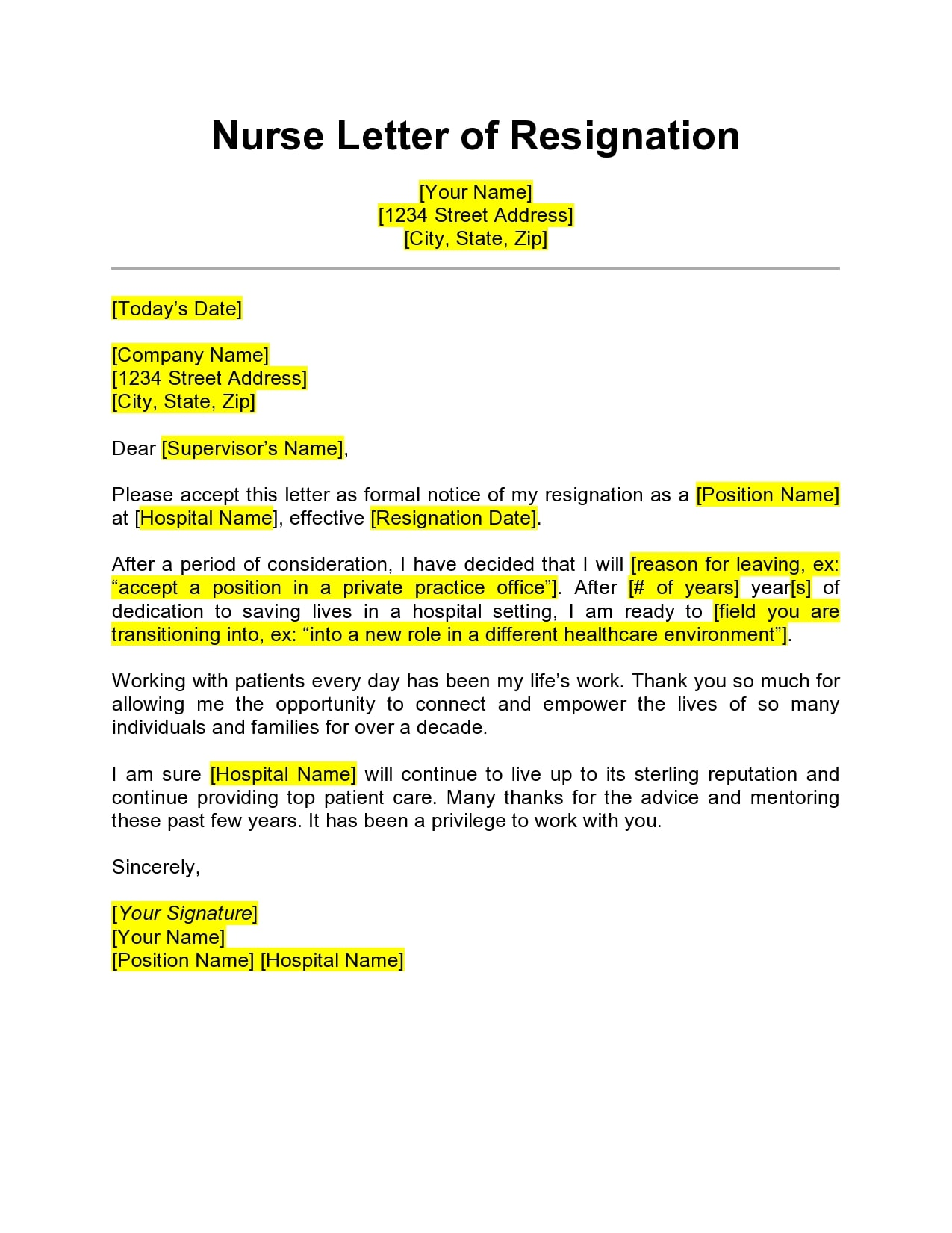 nursing resignation letter 03