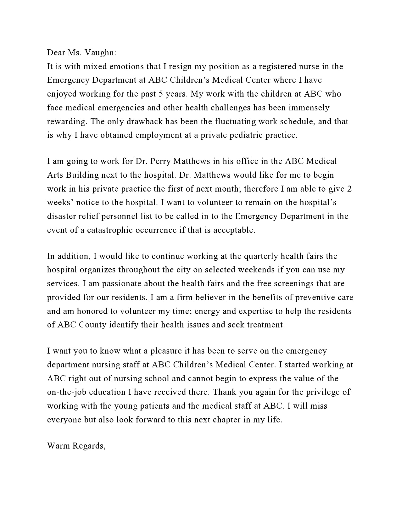 nursing resignation letter 09