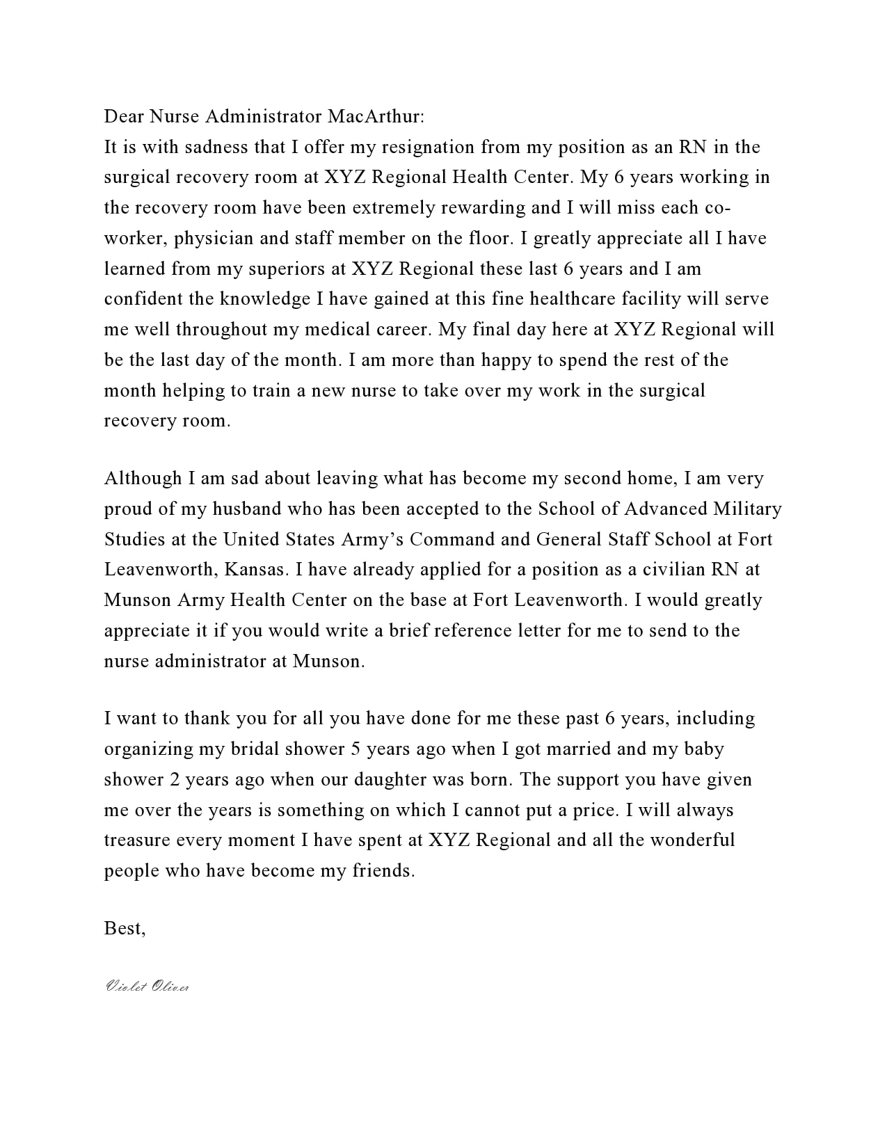 nursing resignation letter 10