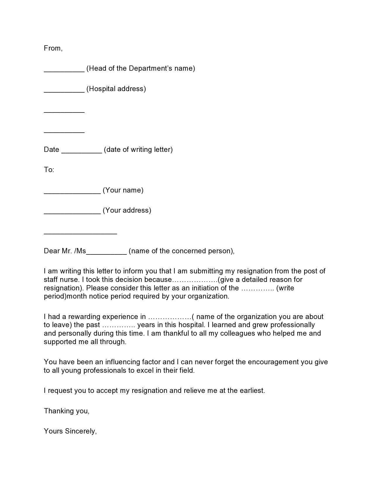 nursing resignation letter 11