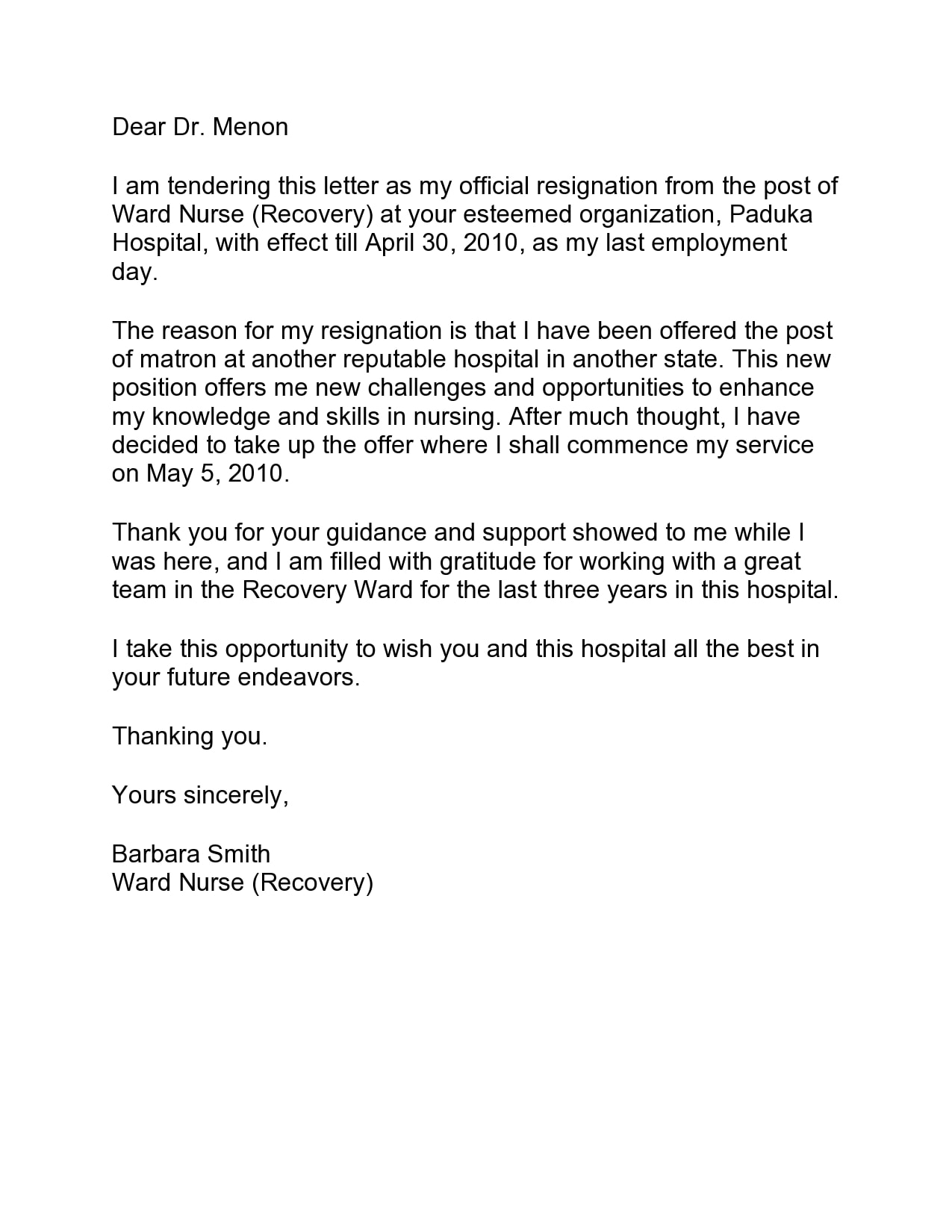 nursing resignation letter 13