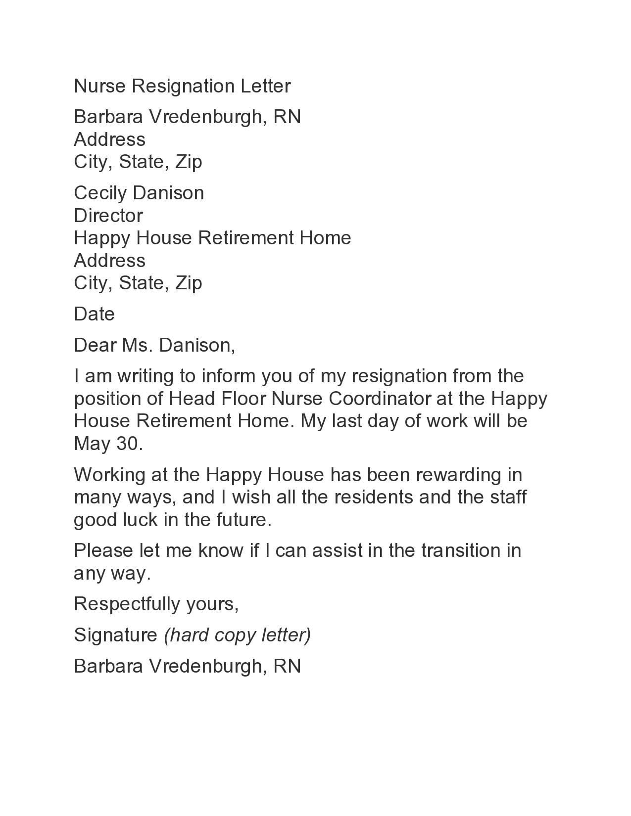 nursing resignation letter 16