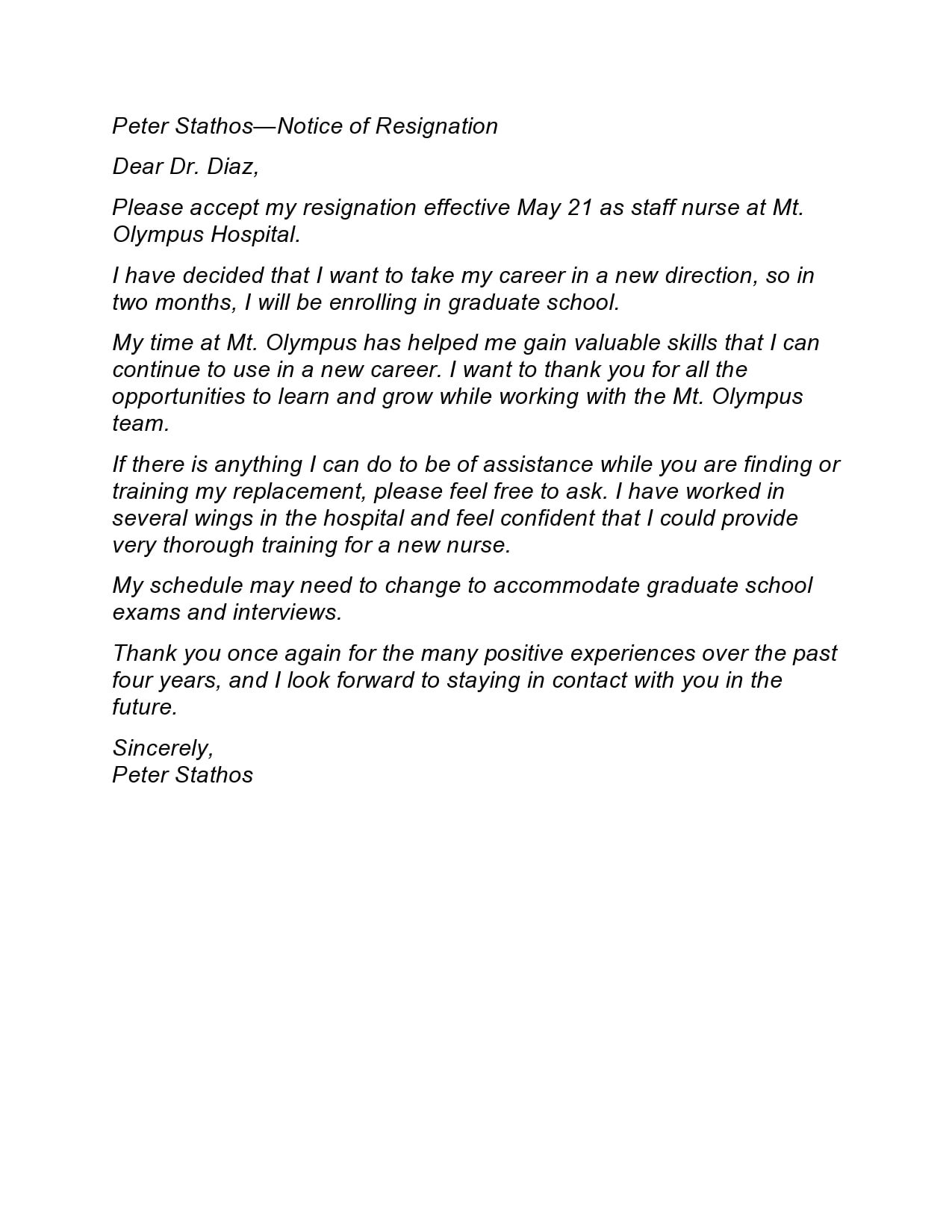 nursing resignation letter 20