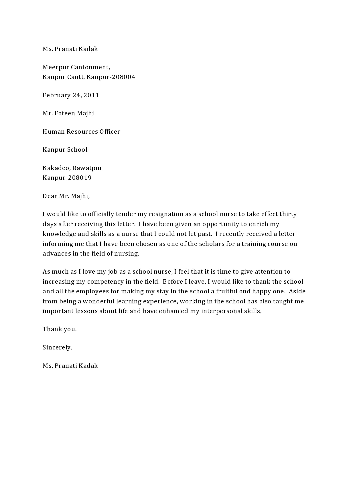 nursing resignation letter 25