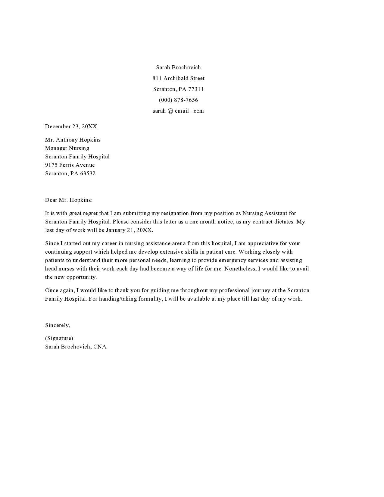 nursing resignation letter 27
