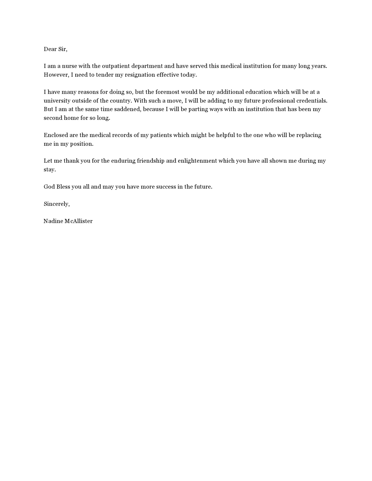 nursing resignation letter 29