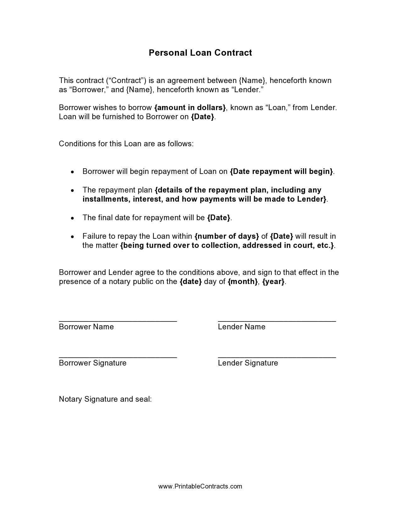 personal loan template 15