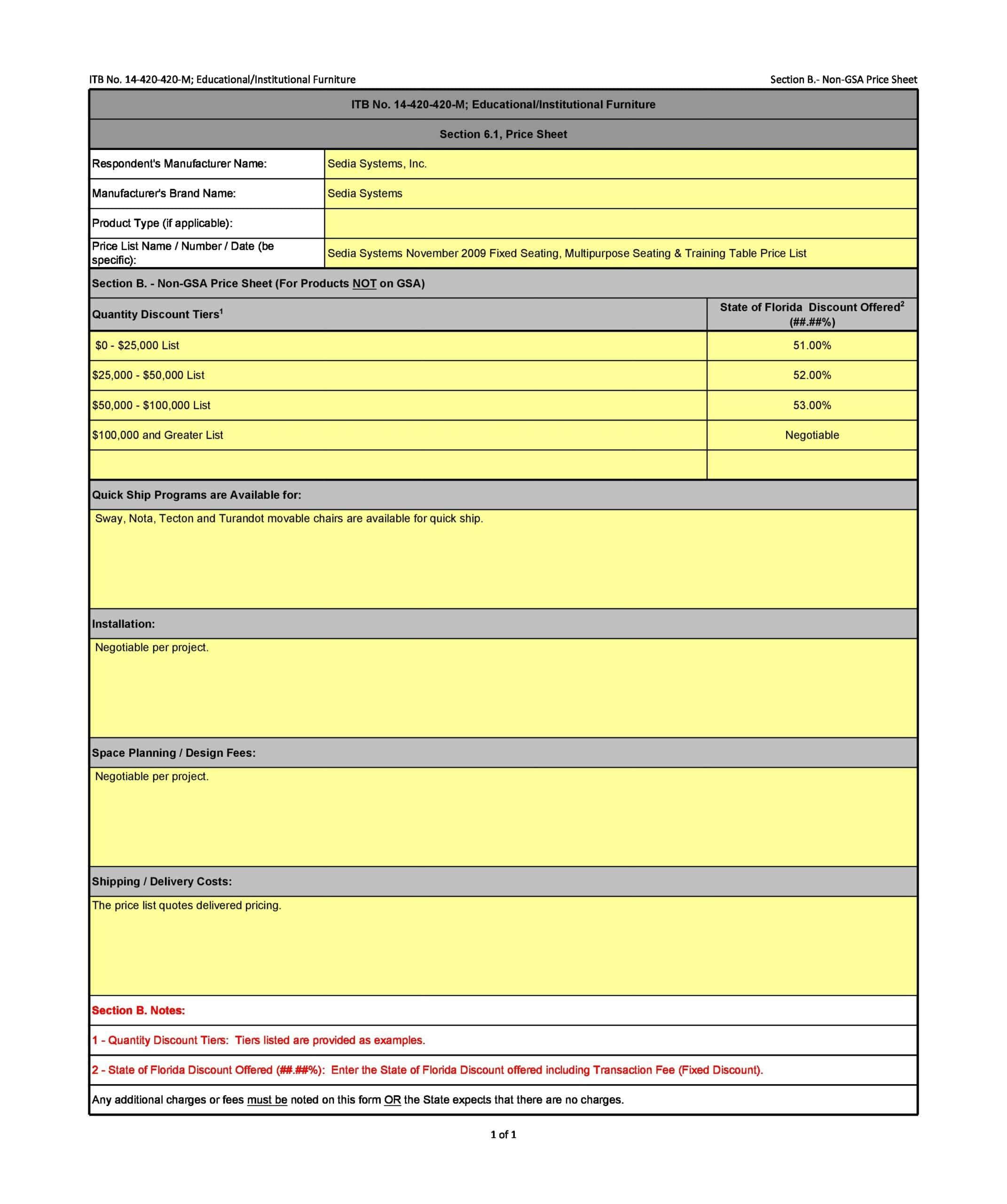 price sheet template 03