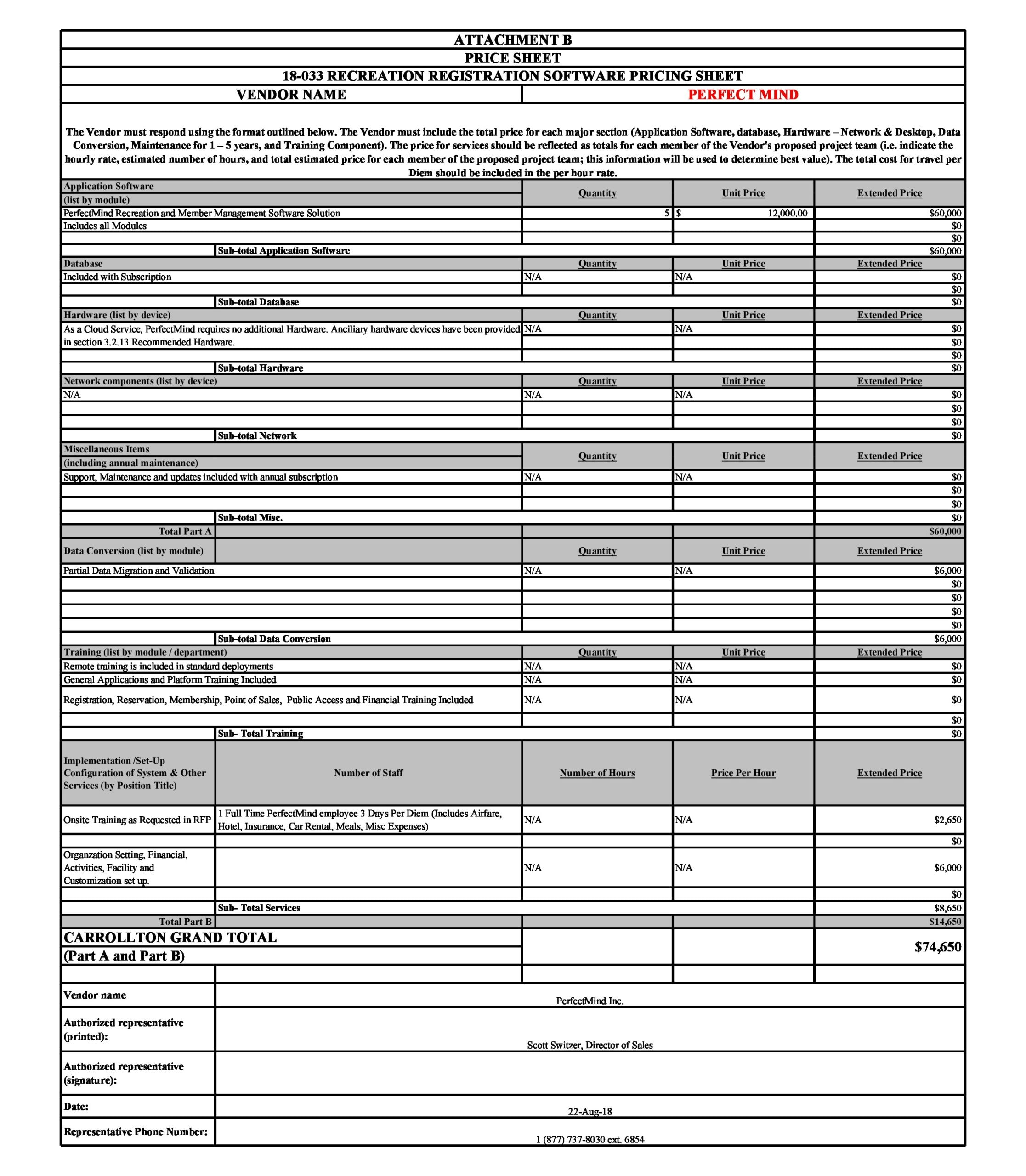 price sheet template 16