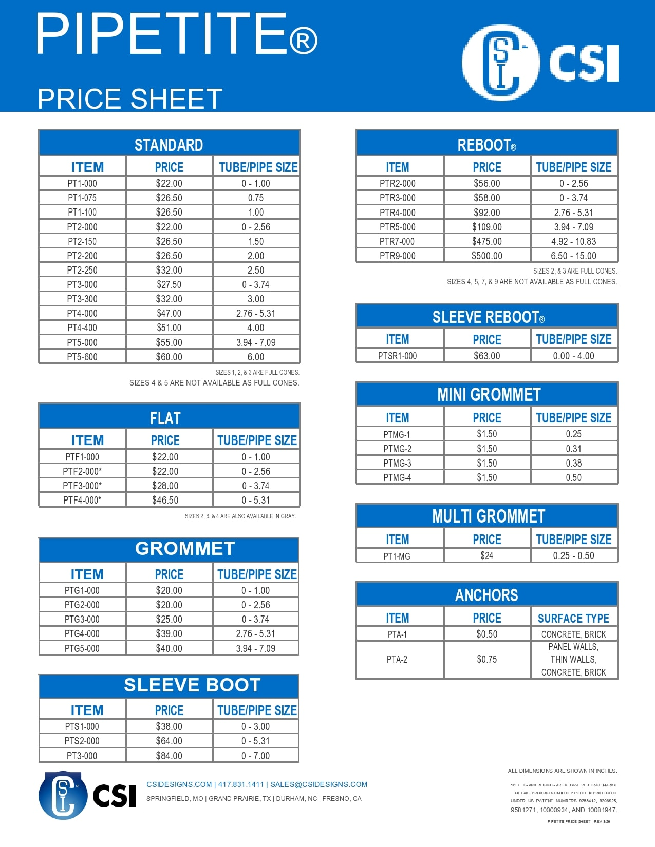 price sheet template 21