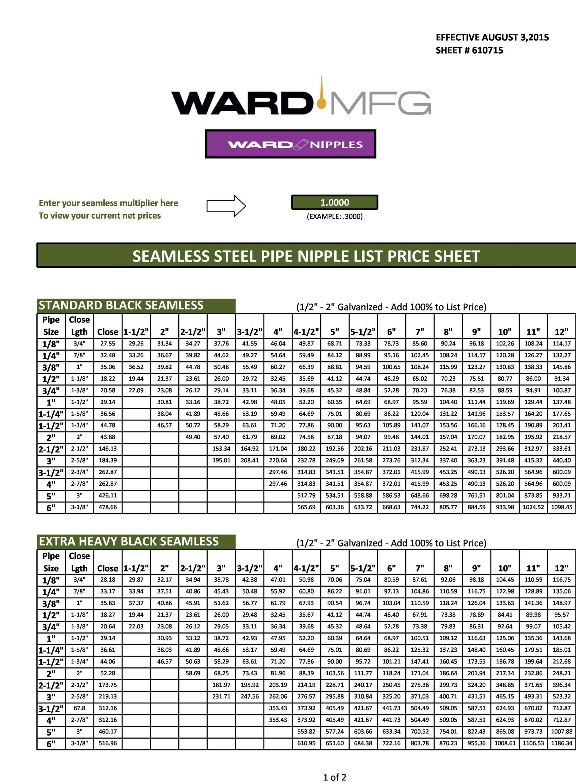 price sheet template 23