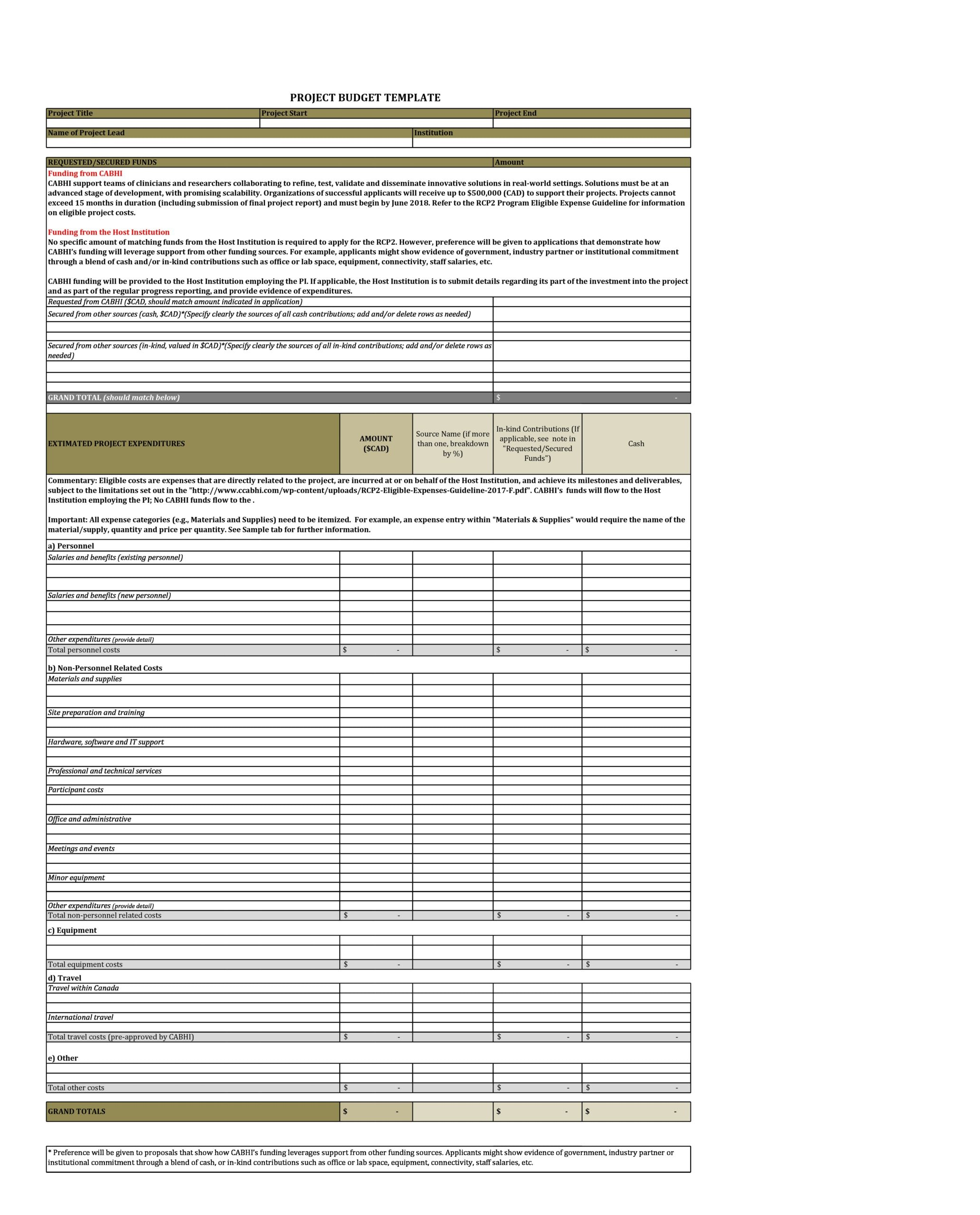 project budget template 08