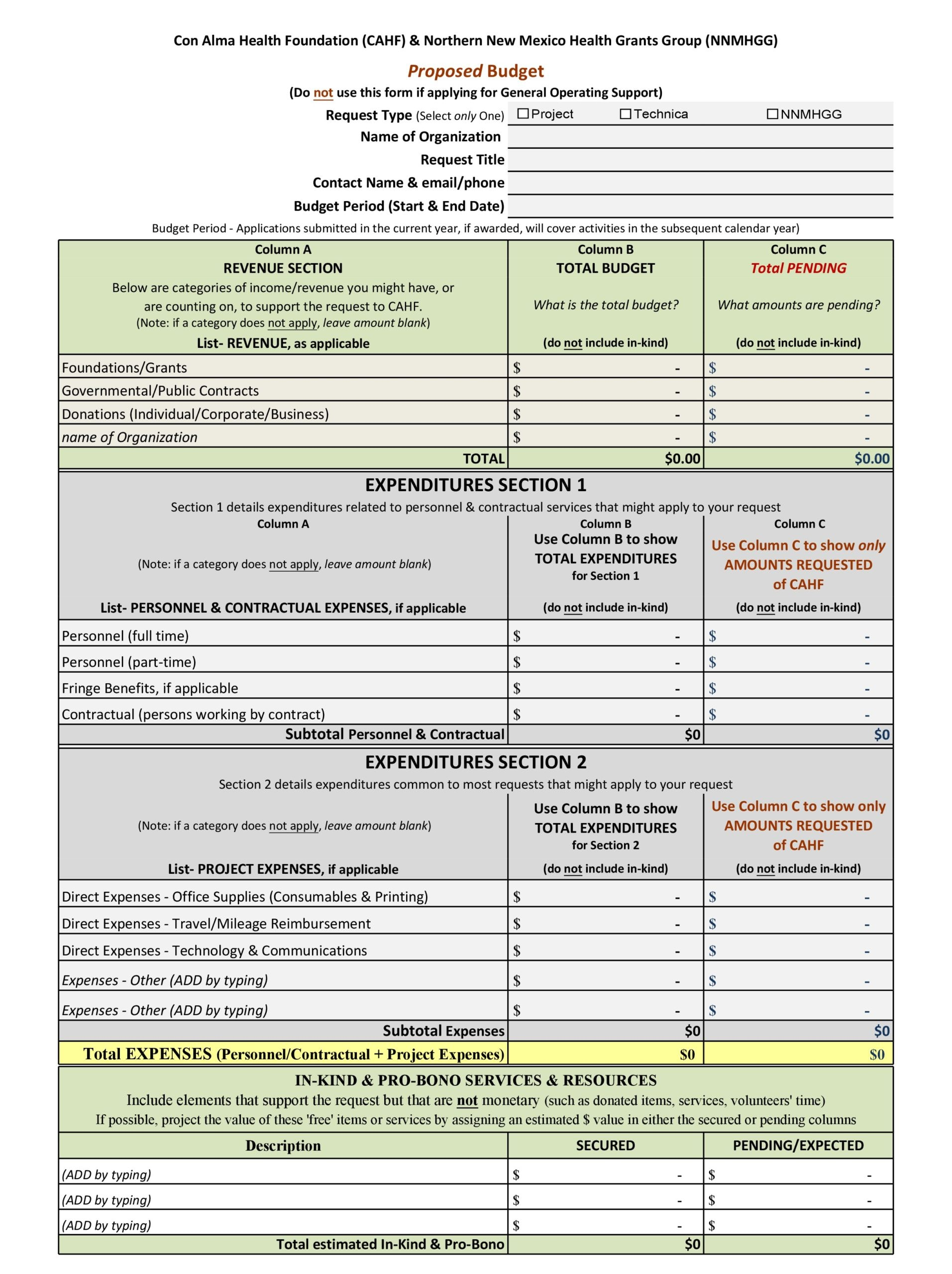 project budget template 16