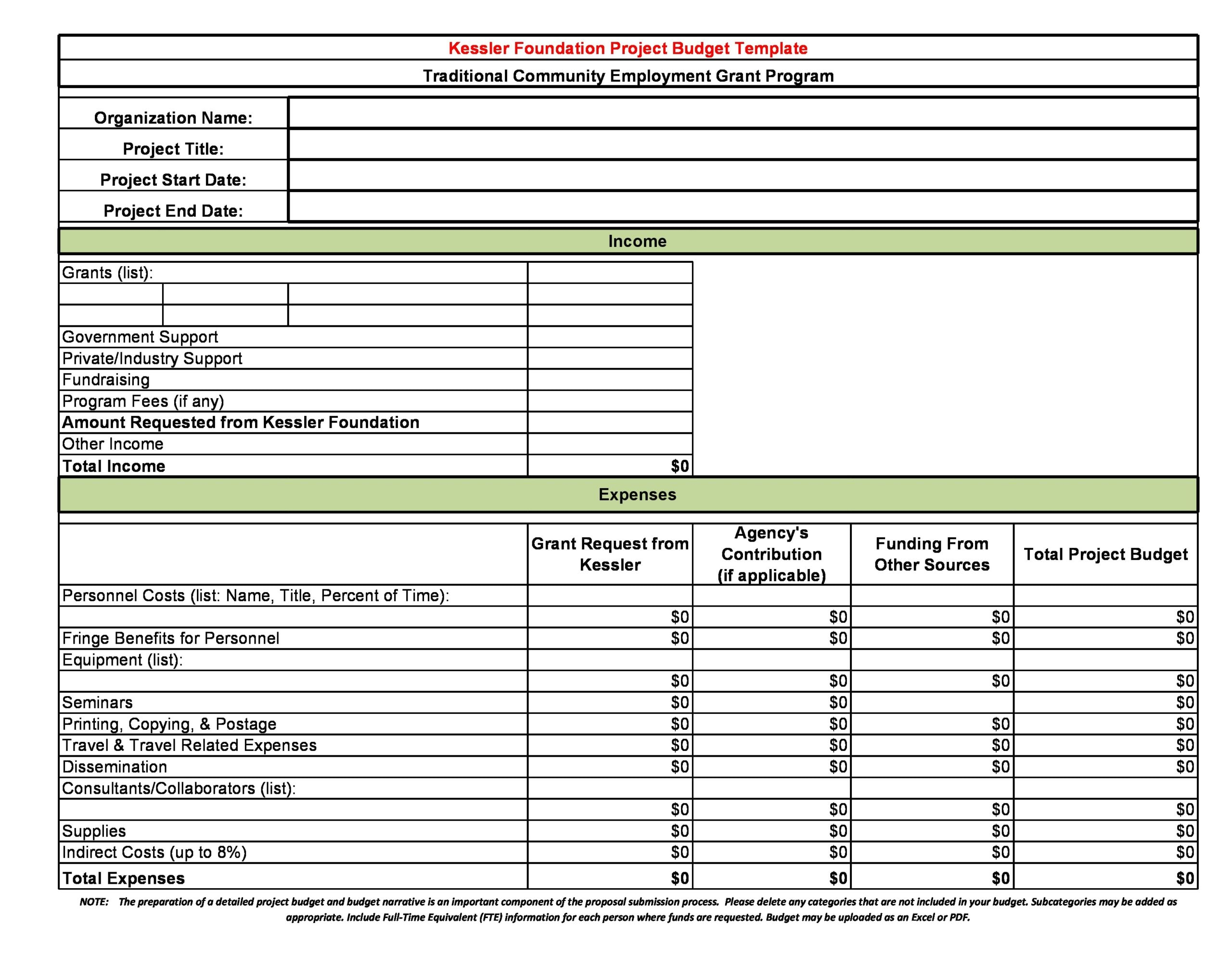 project budget template 17