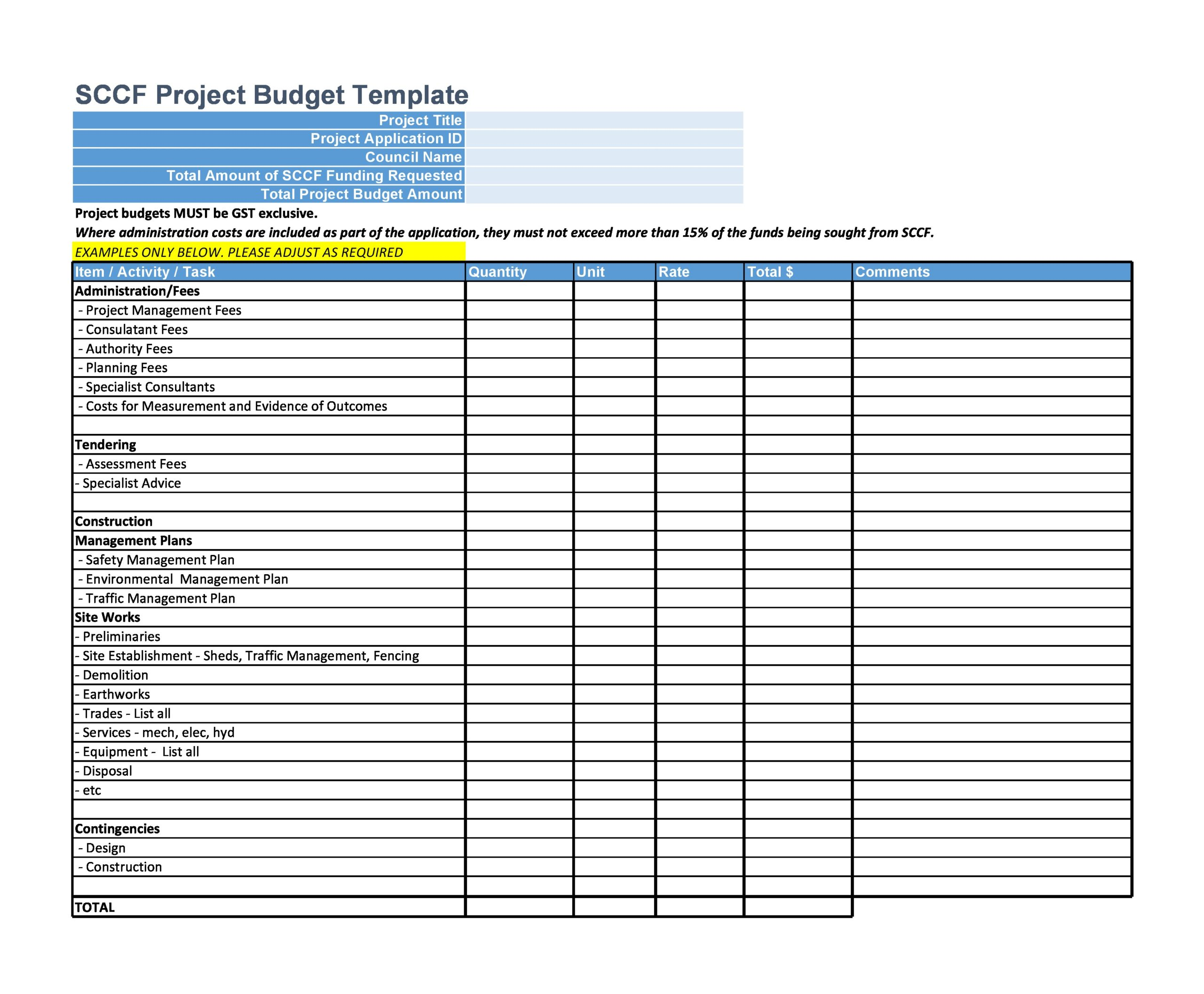project budget template 18