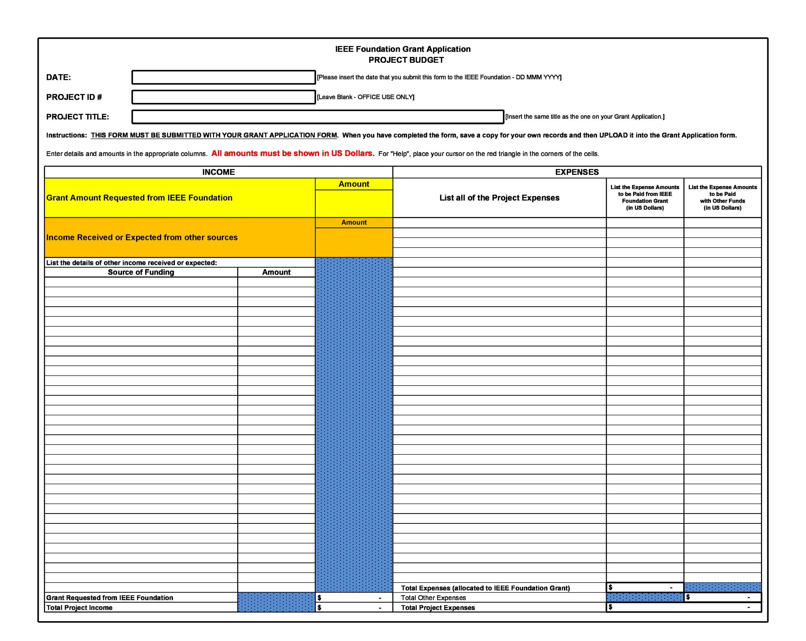 project budget template 21