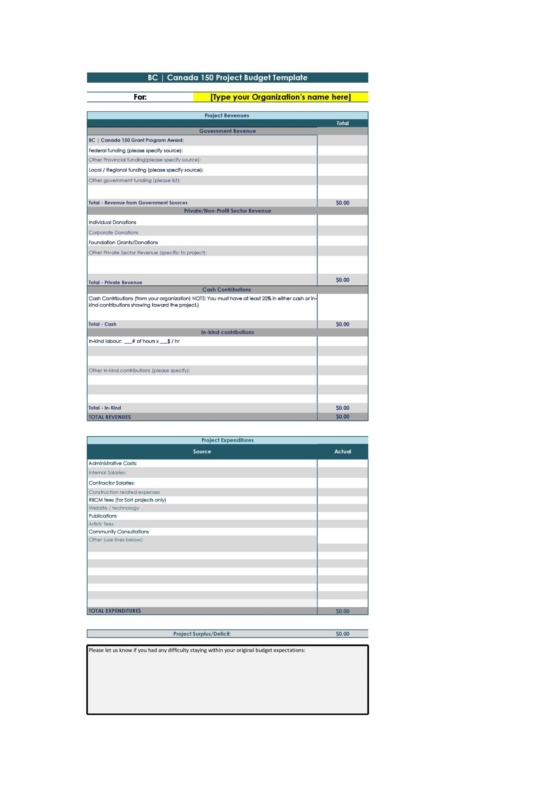 project budget template 27