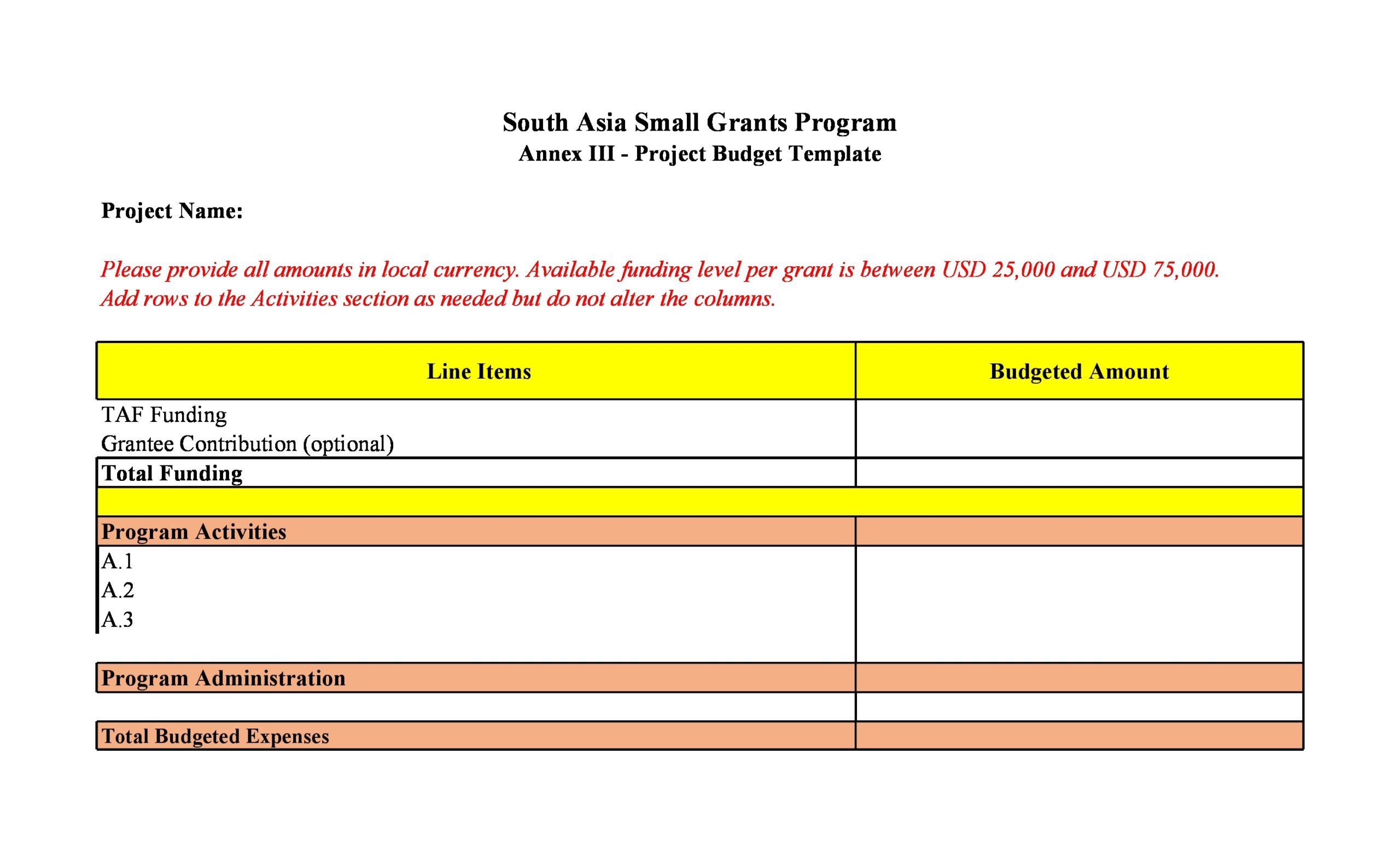 project budget template 30