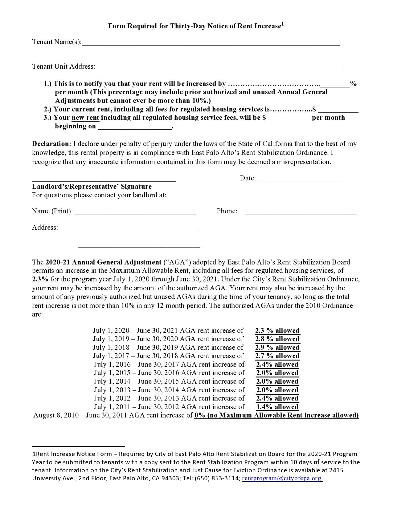 rent increase notice 19