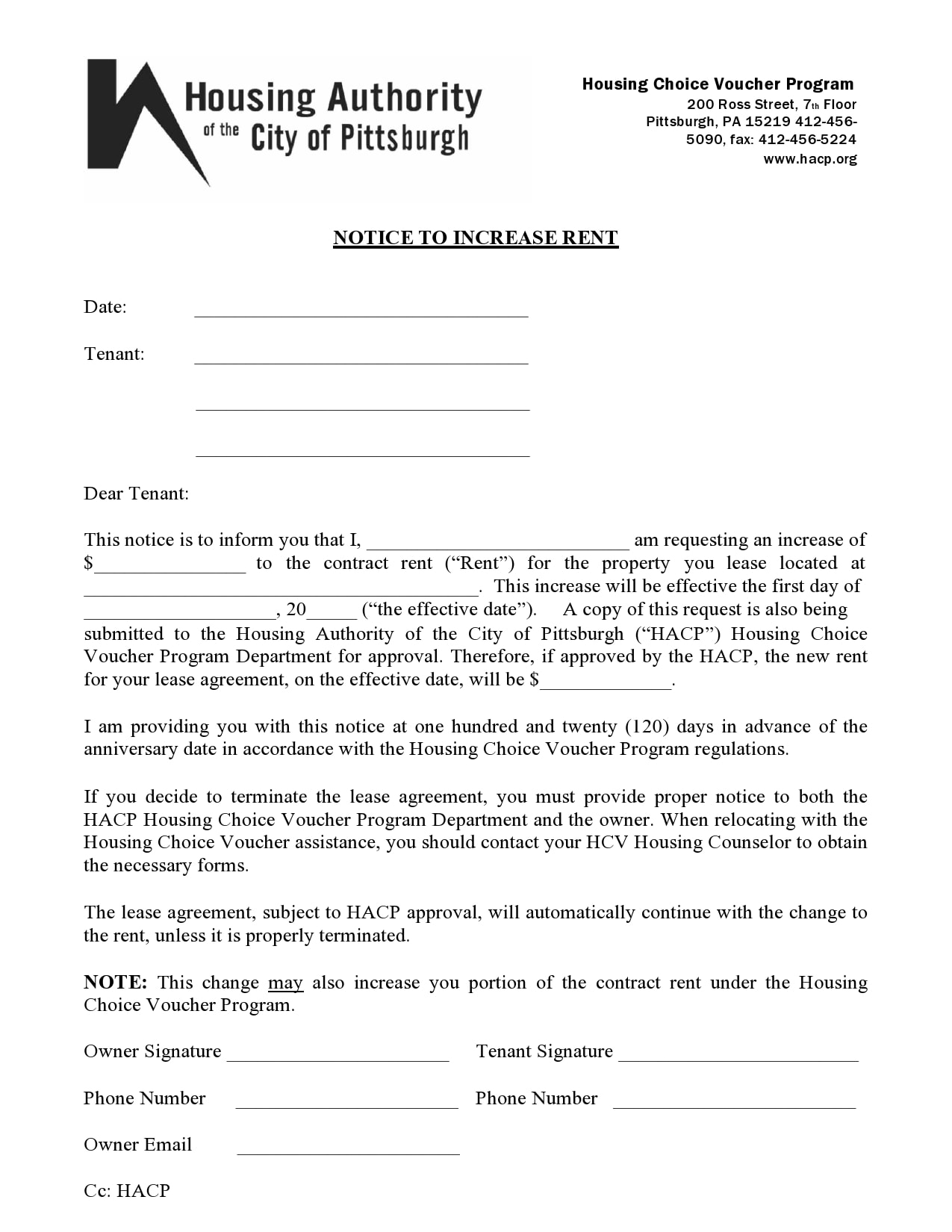 rent increase notice 23