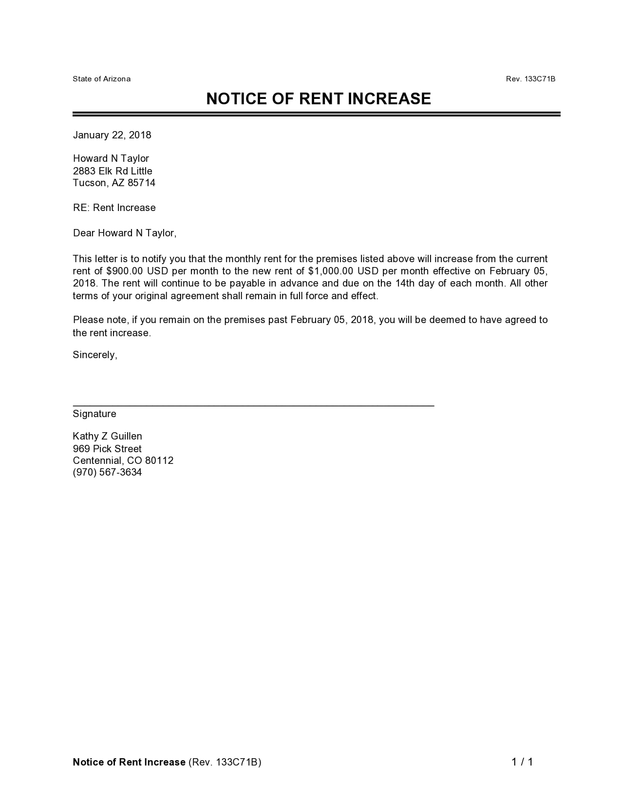 rent increase notice 27