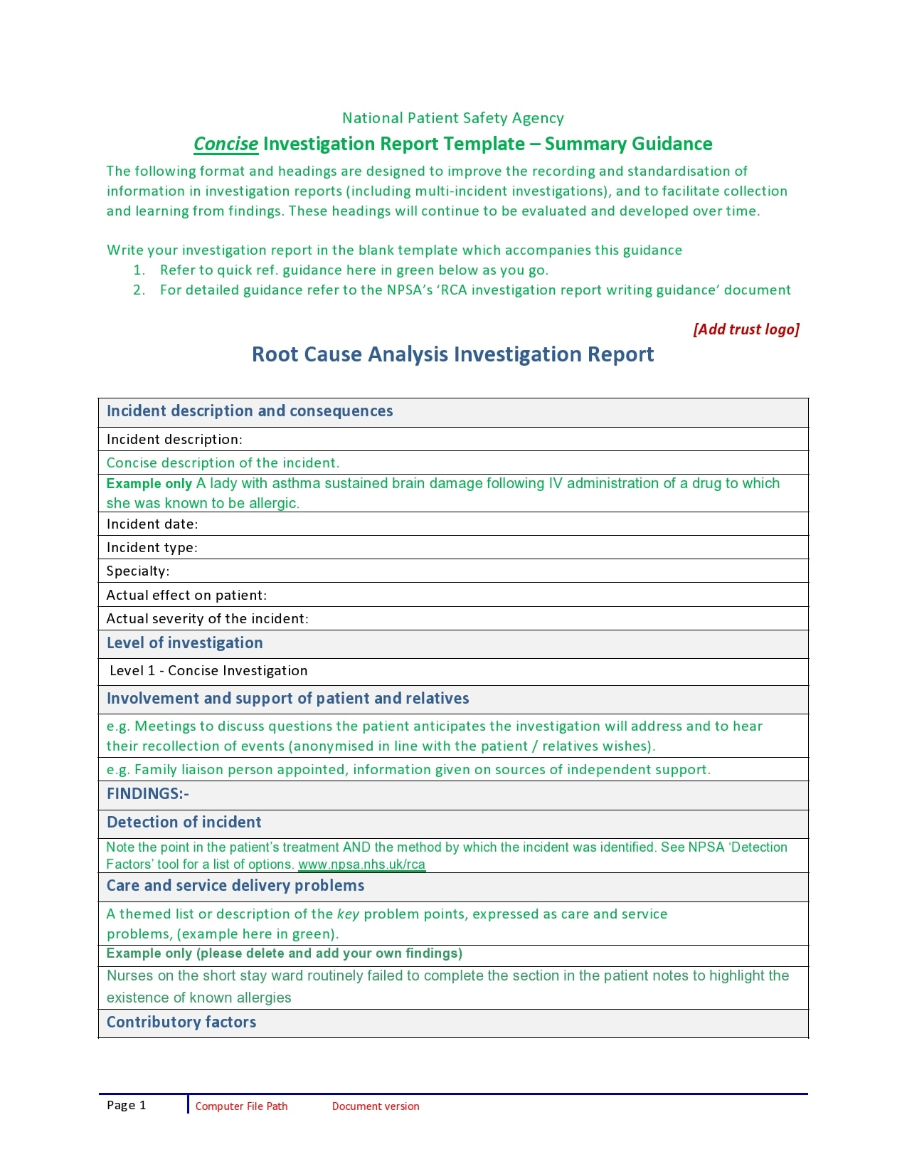 root cause analysis template 20