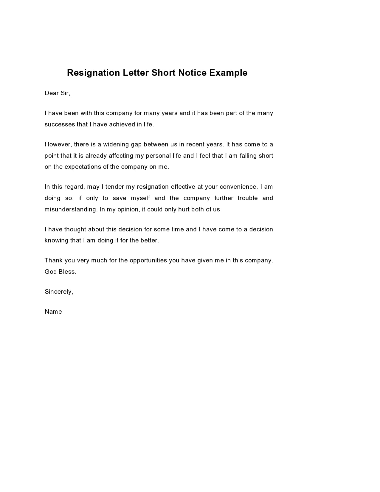 short notice resignation letter 01