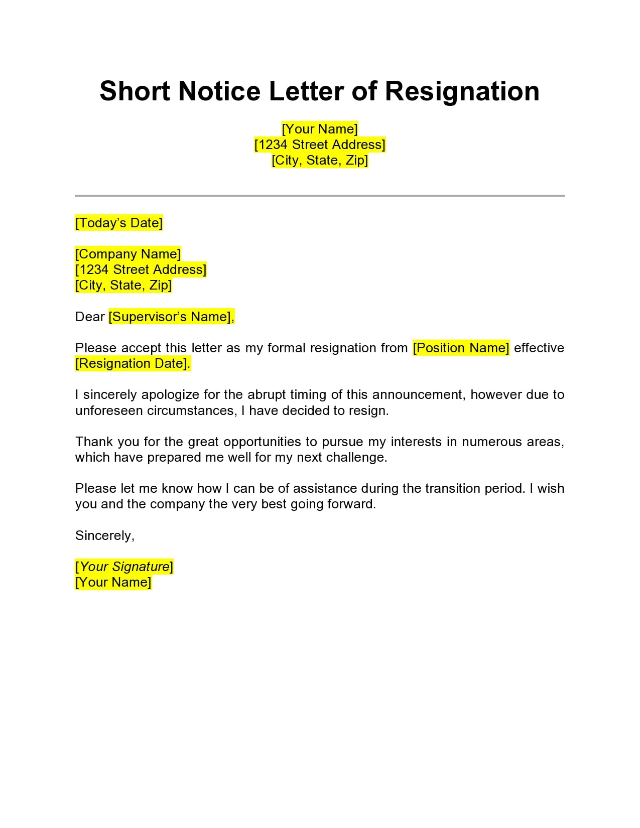 short notice resignation letter 04