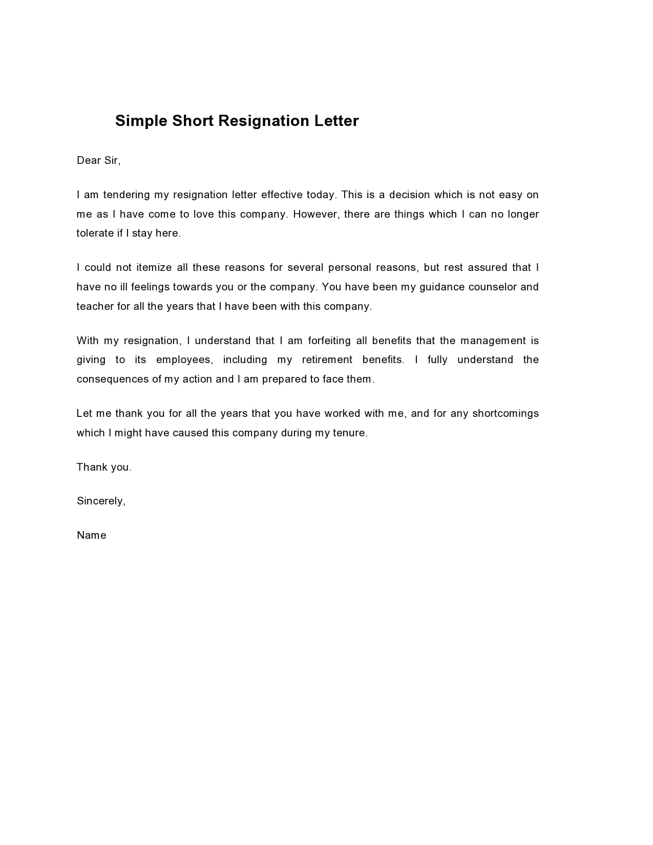 short notice resignation letter 05