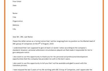 short notice resignation letter 06