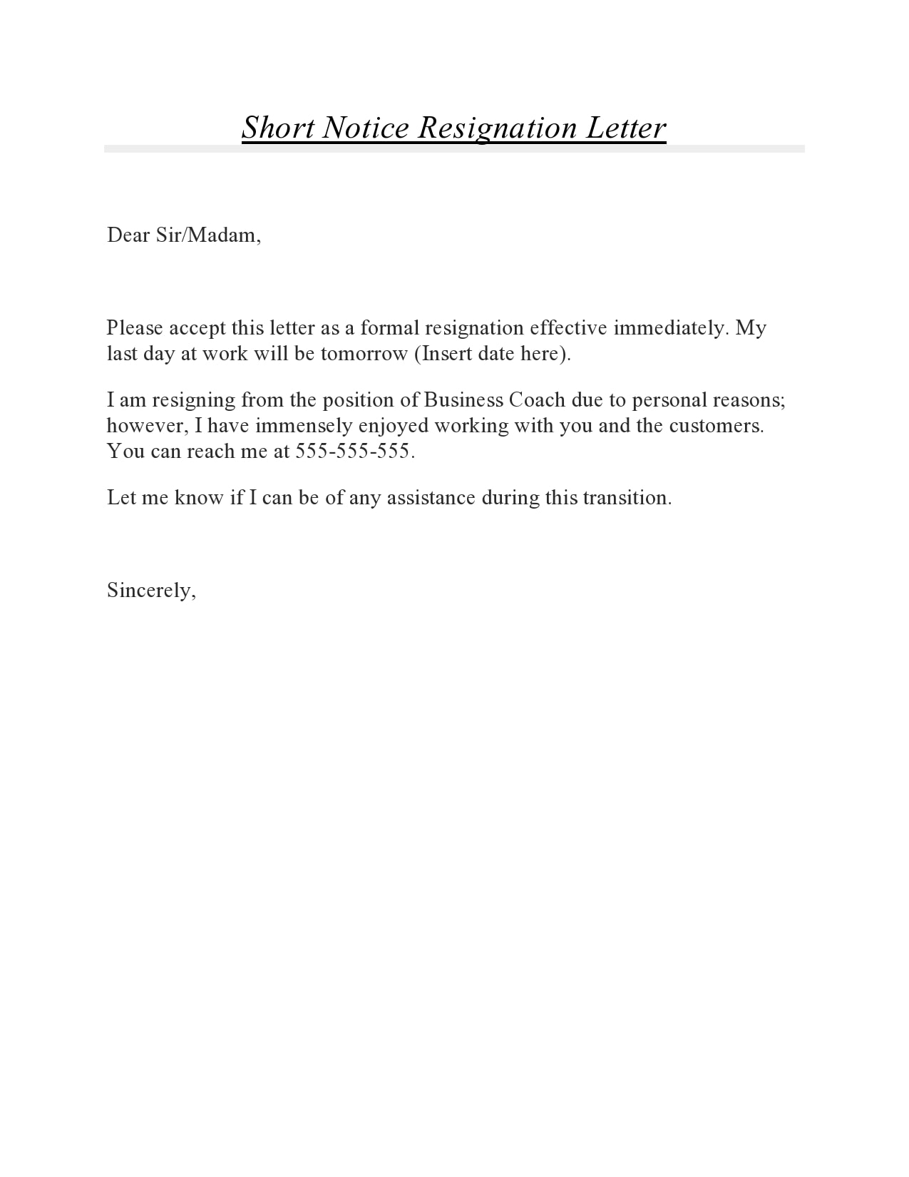 short notice resignation letter 11