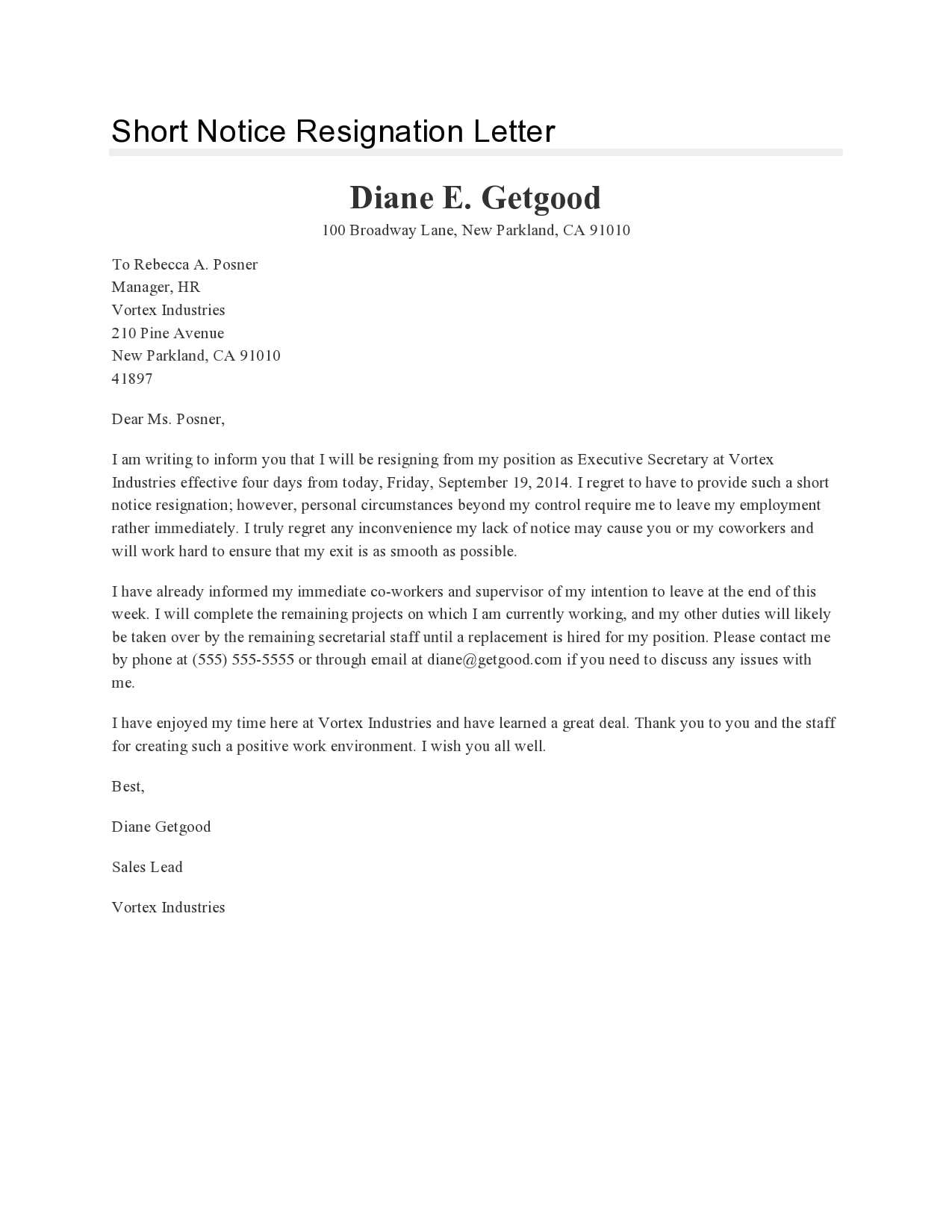 short notice resignation letter 28