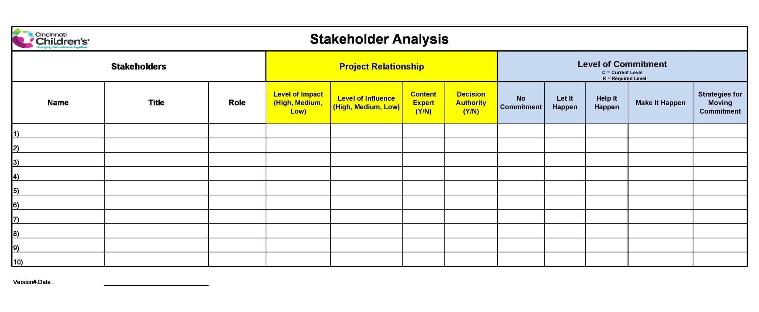 stakeholder analysis template 13