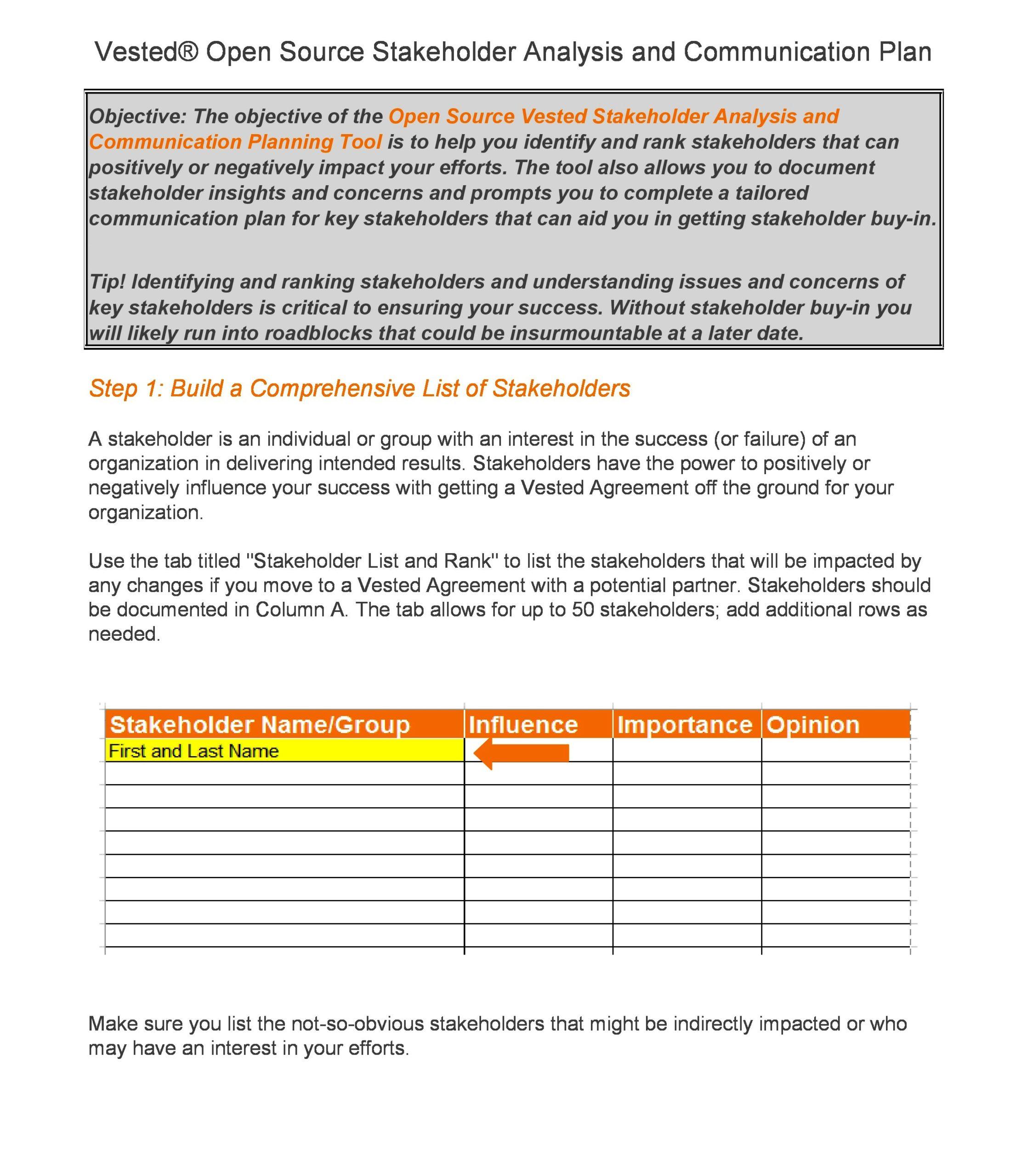 stakeholder analysis template 17