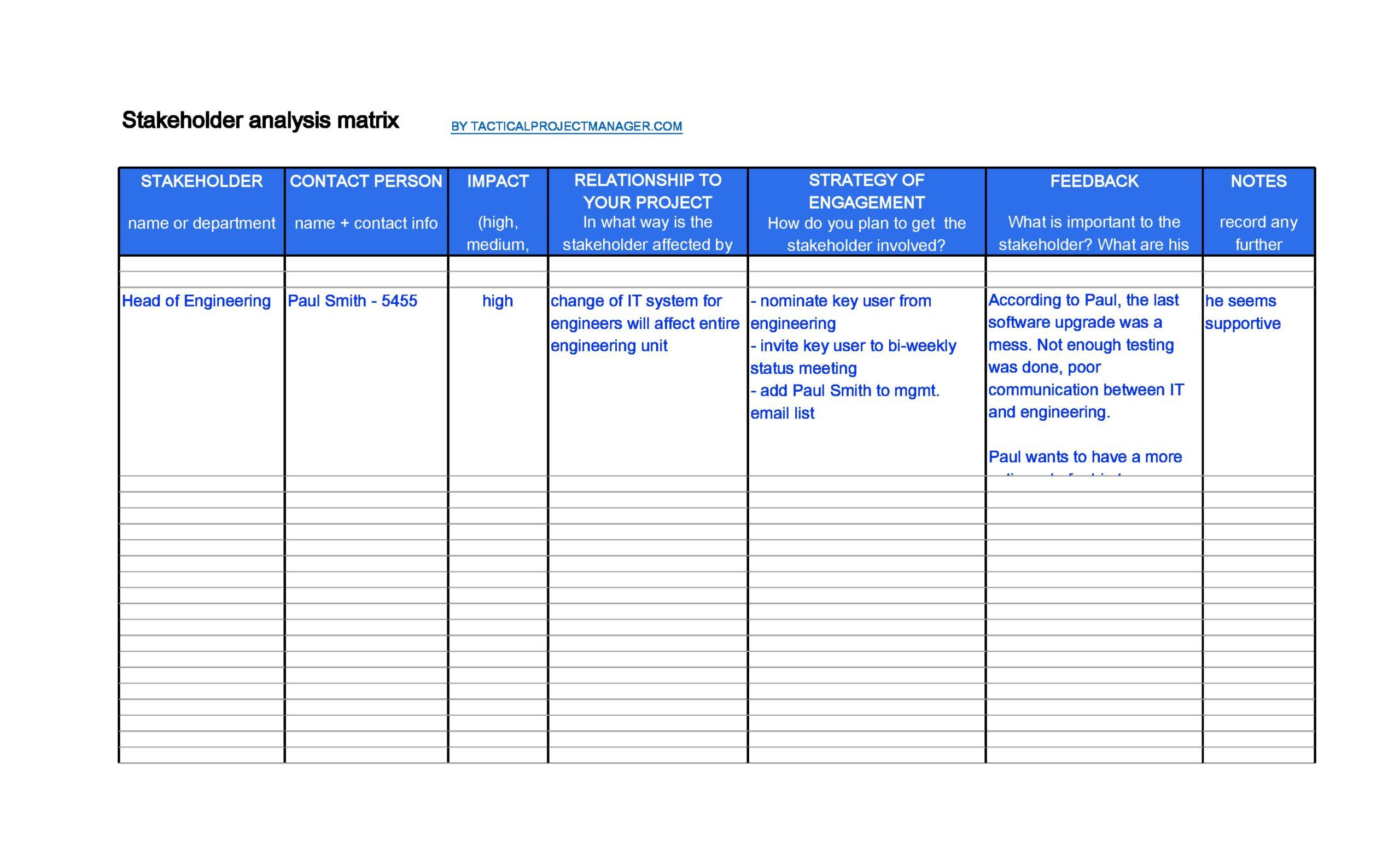 stakeholder analysis template 19