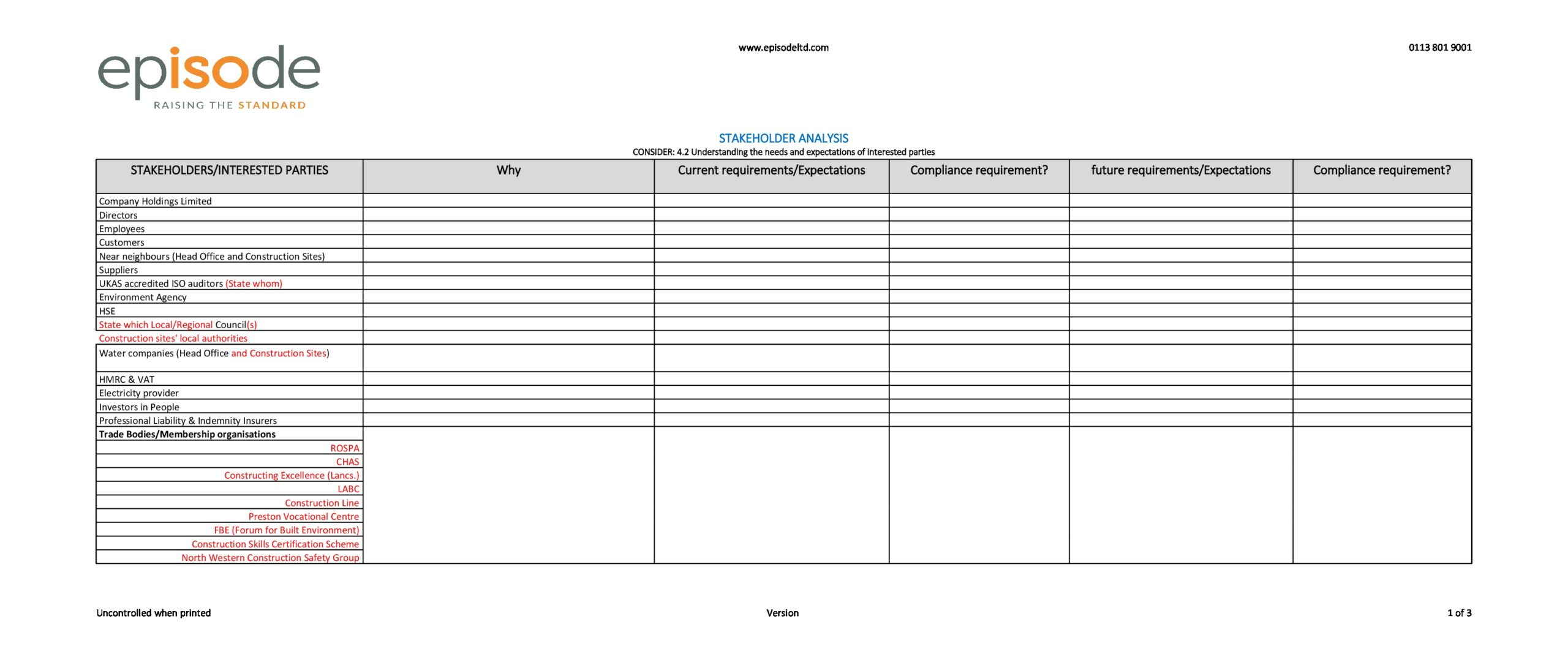 stakeholder analysis template 20